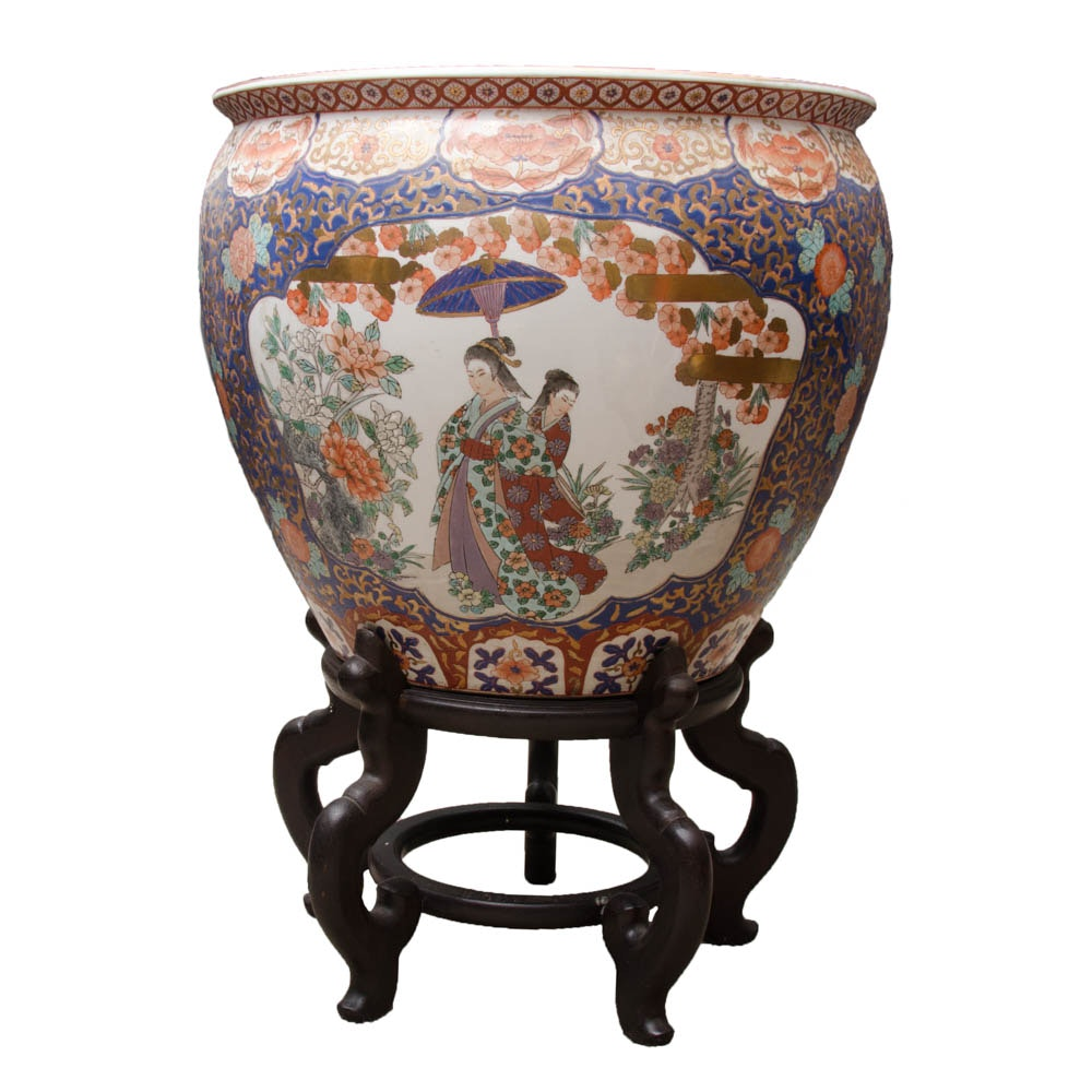 Chinese Fish Bowl Planter With Stand Ebth