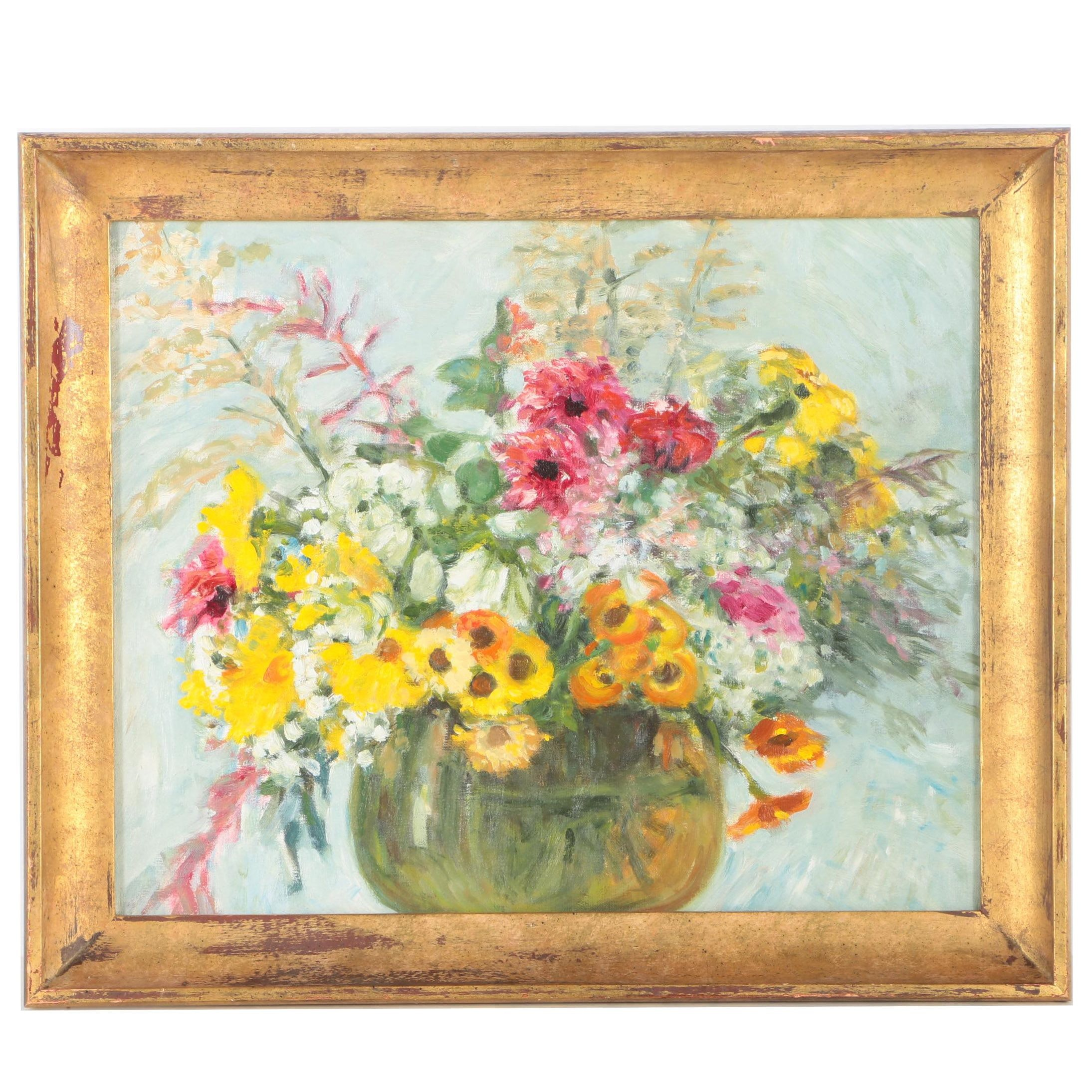 Oil Painting on Canvas of Floral Still Life