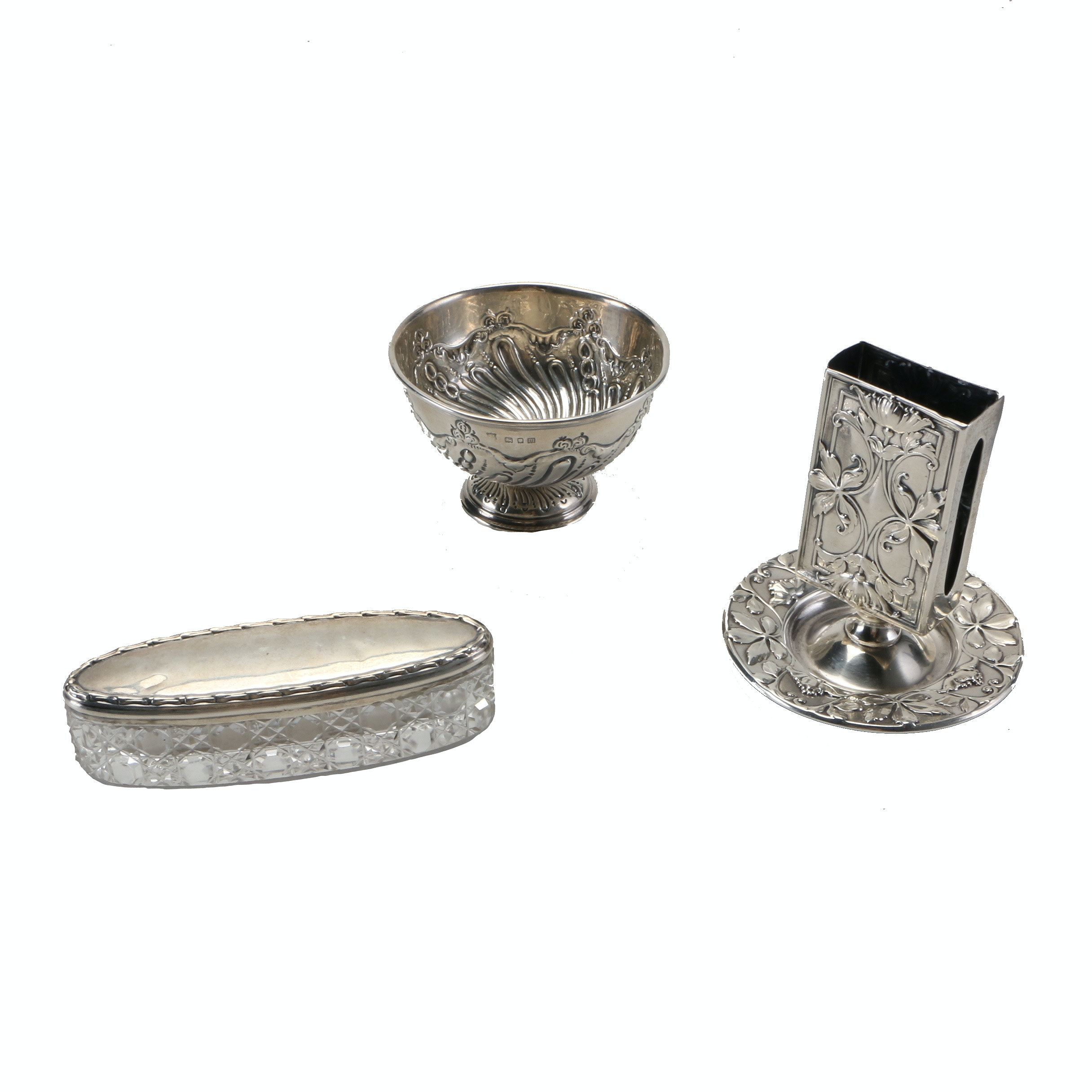 British Sterling Silver Finger Bowl, Gorham Sterling Matchbox Holder and Decorative Jar