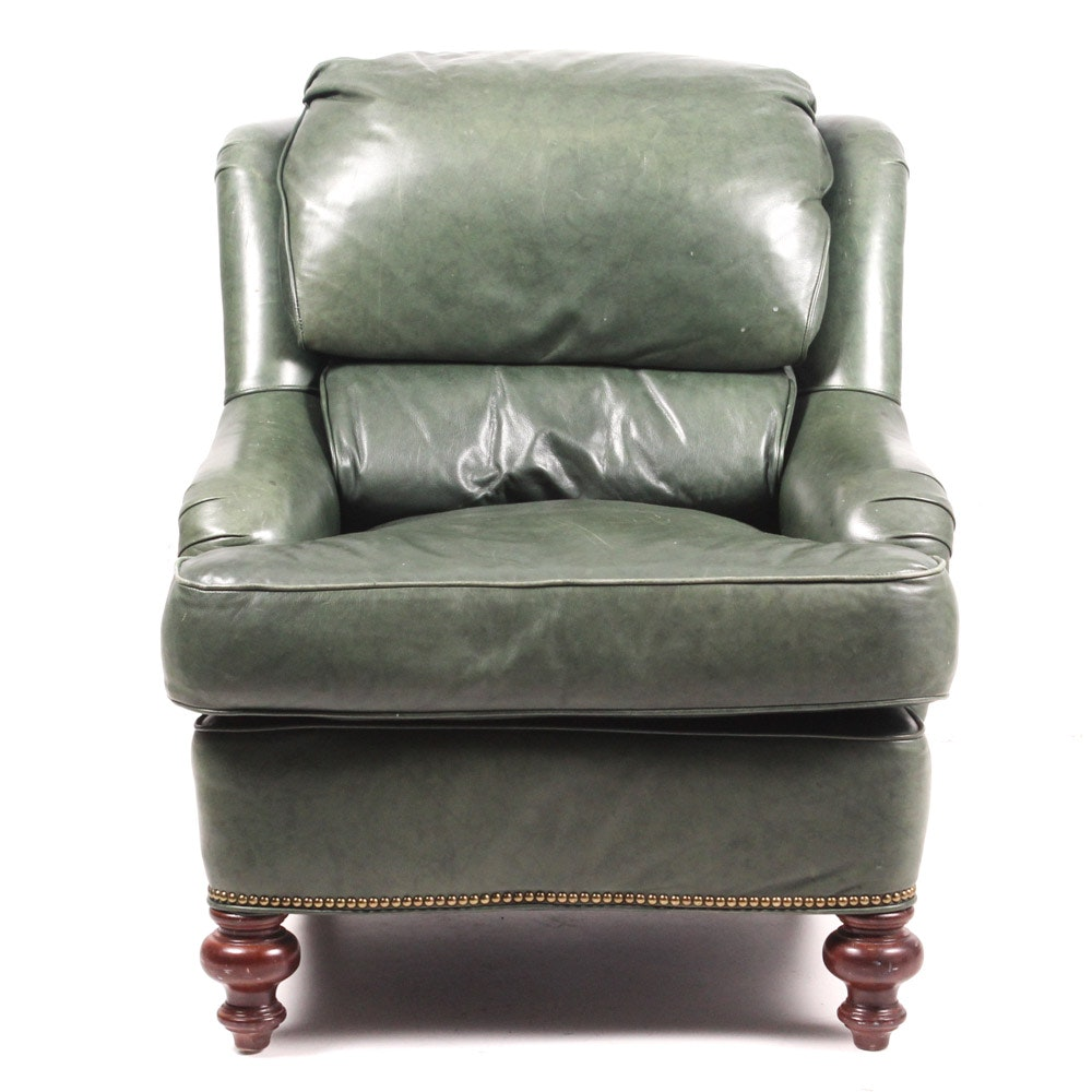 Green Leather Armchair by Old Hickory Tannery