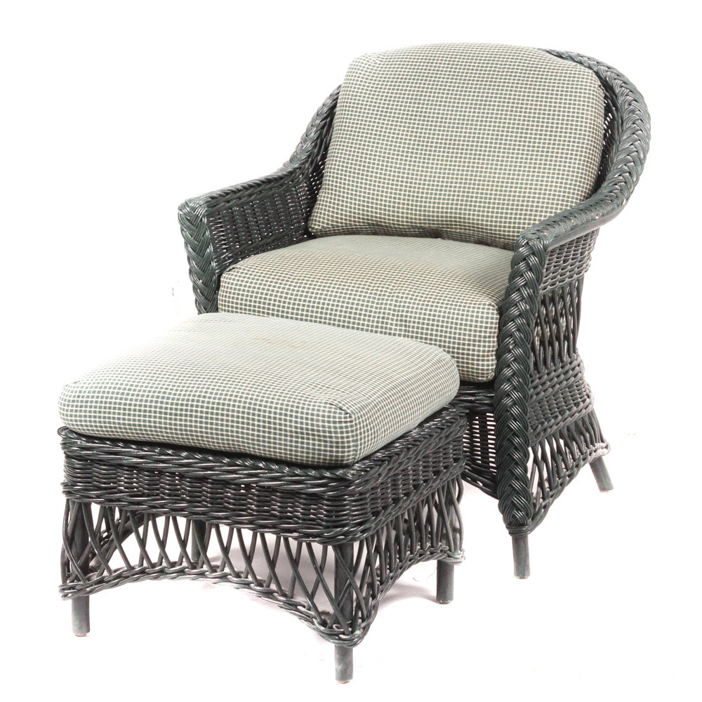 Wicker Patio Armchair With Ottoman by Lexington Furniture