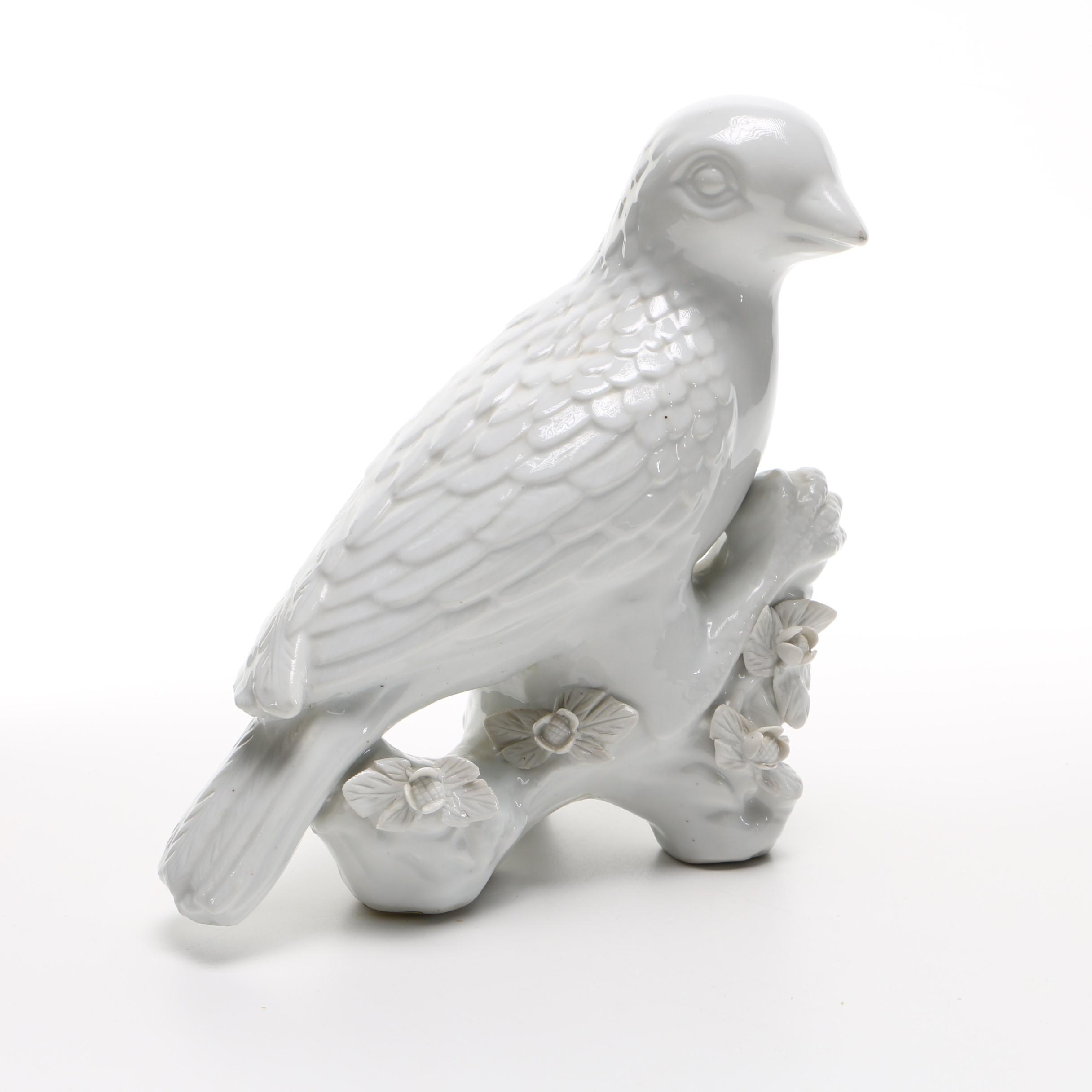 Handmade White Ceramic Bird by Maitland-Smith Ltd.