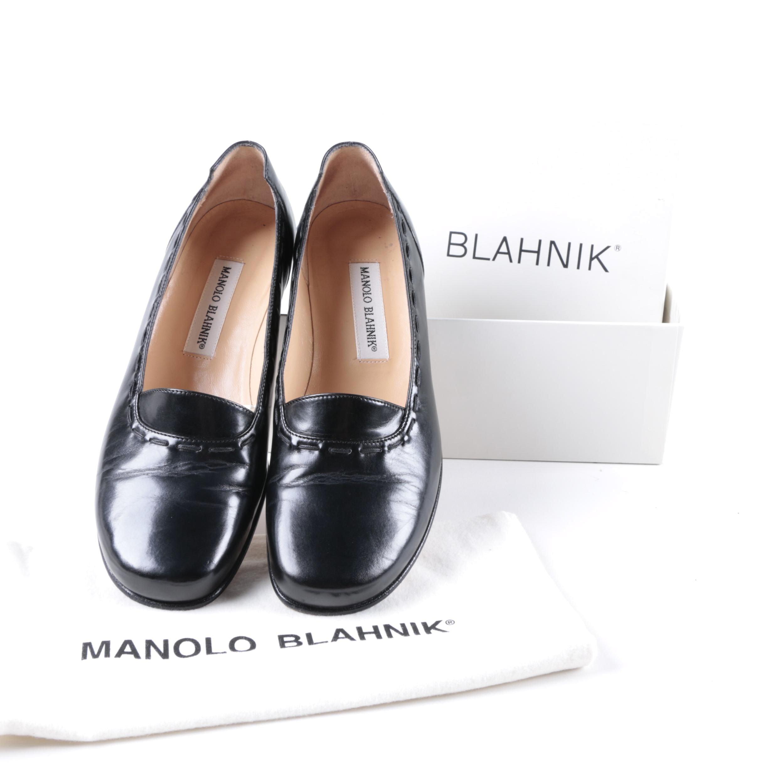 Manolo Blahnik Black Leather Loafers