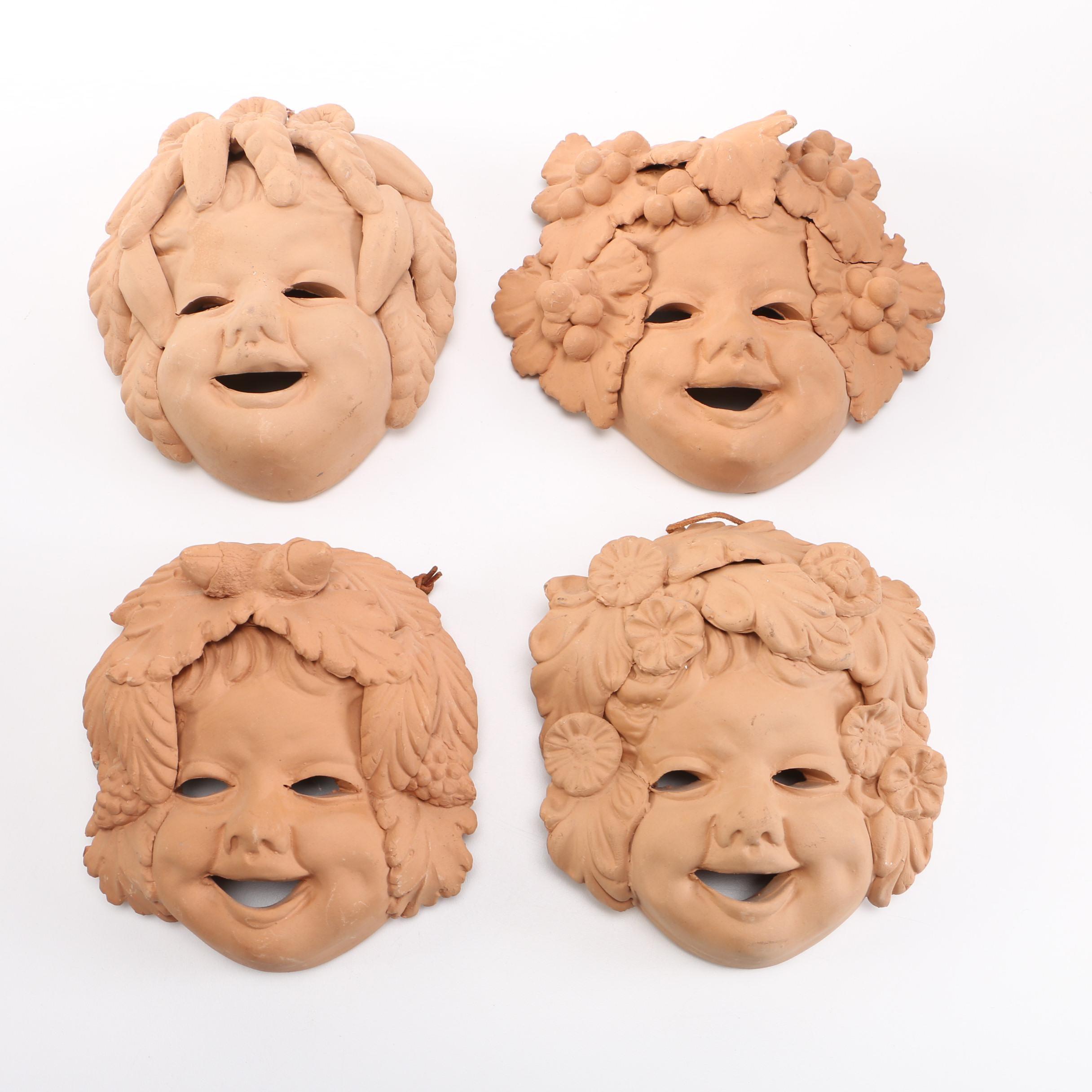 Italian Terra Cotta Clay Wall Masks of the Four Seasons