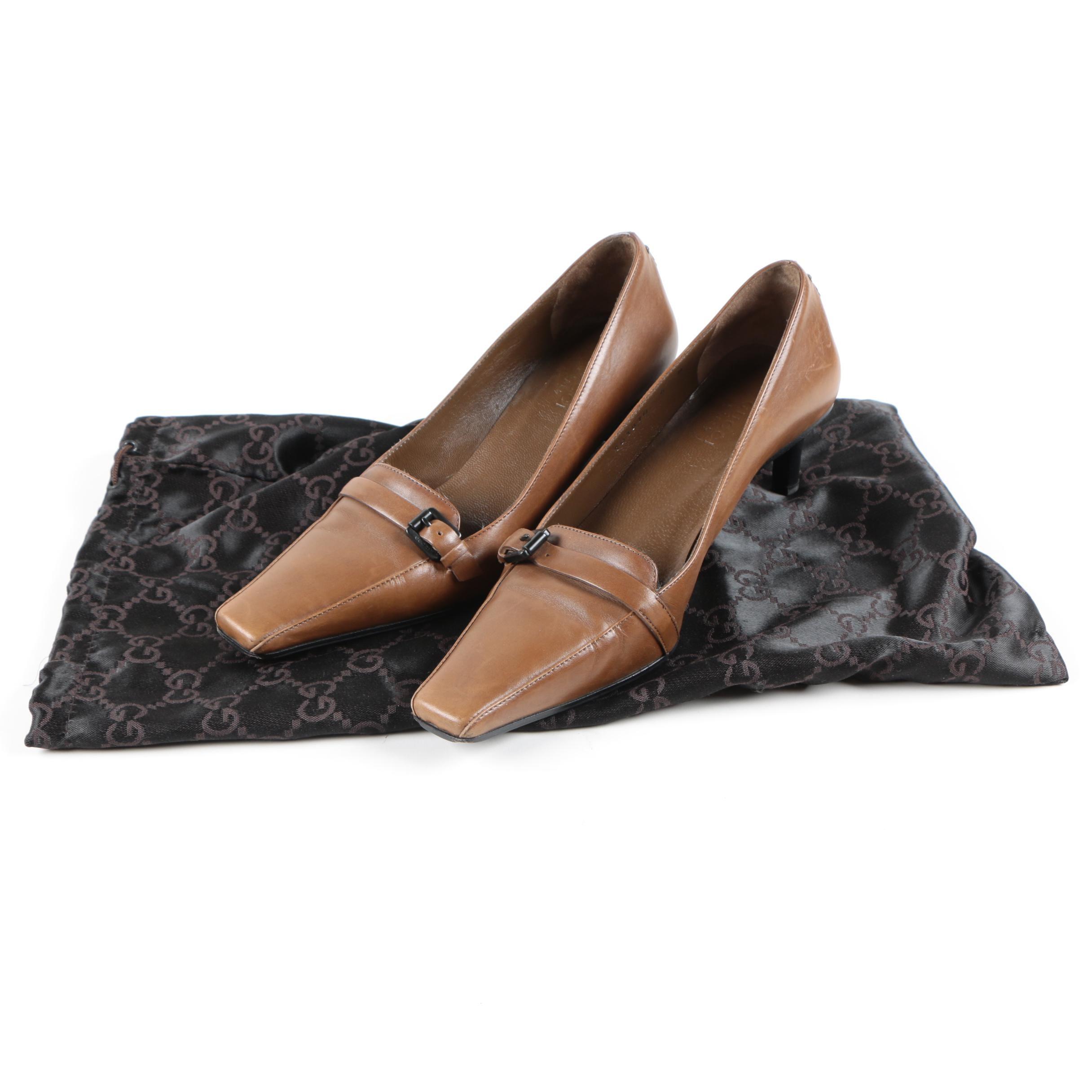 Gucci Brown Leather Kitten Heels