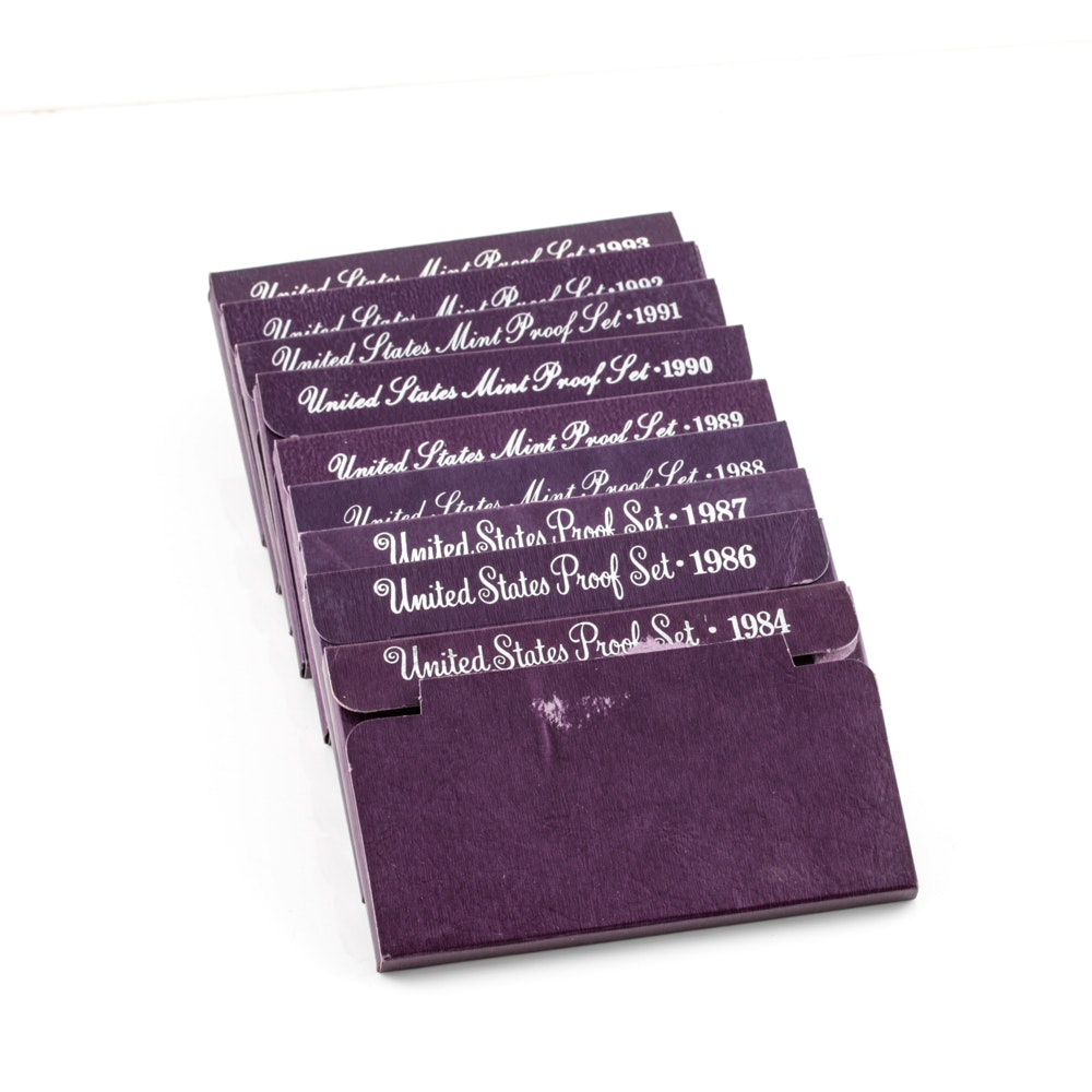 Group of Nine U.S. Proof Sets Including the Following: 1984, 1986, 1987, 1988, 1989, 1990, 1991, 1992, and 1993