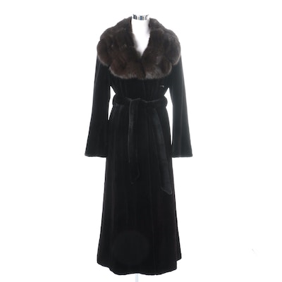 Janucci Full Sheared Mink Fur Coat With Sable Collar
