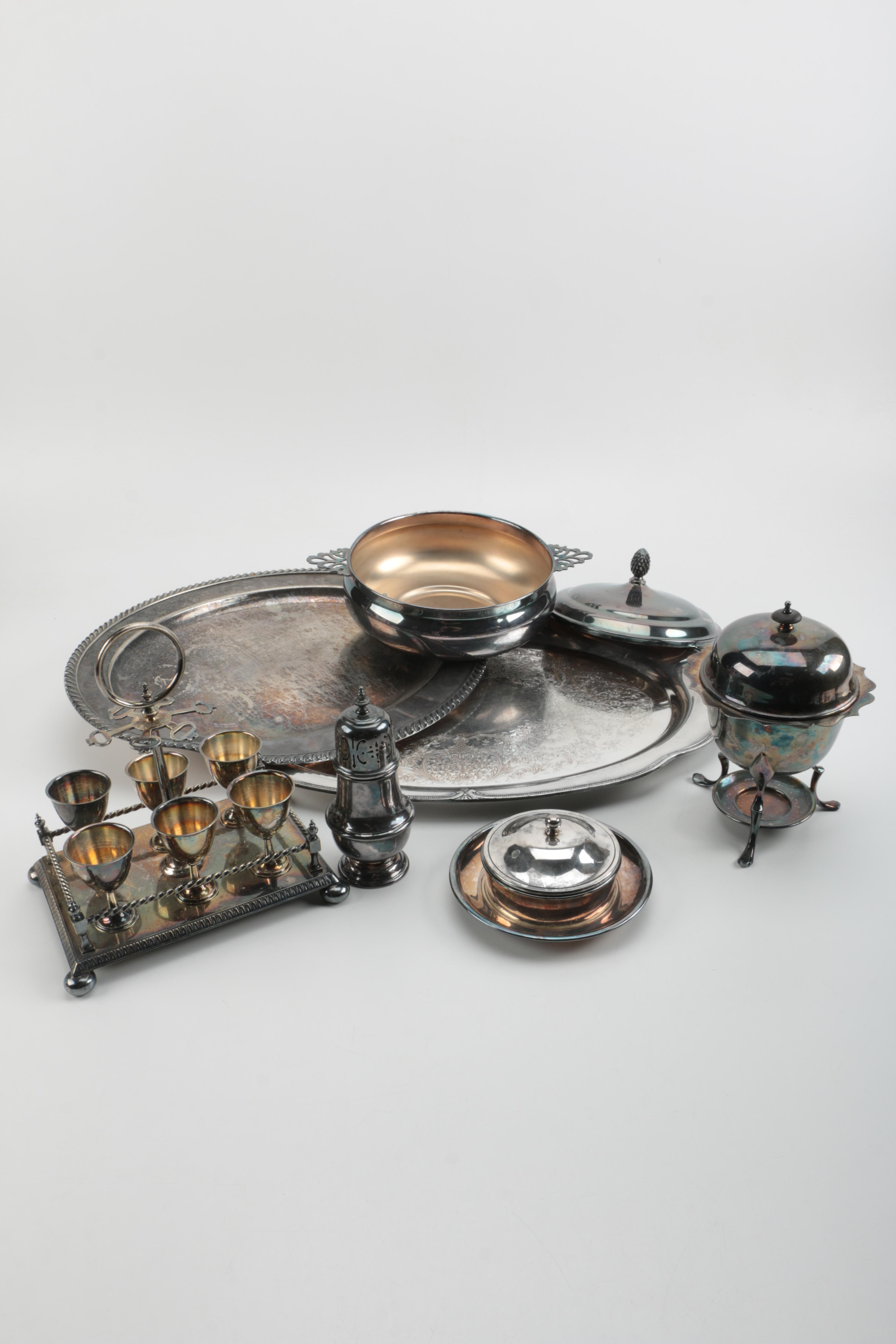 Henry Hobson & Son Egg Cup Set With Stand and Other Silver Plate Servingware