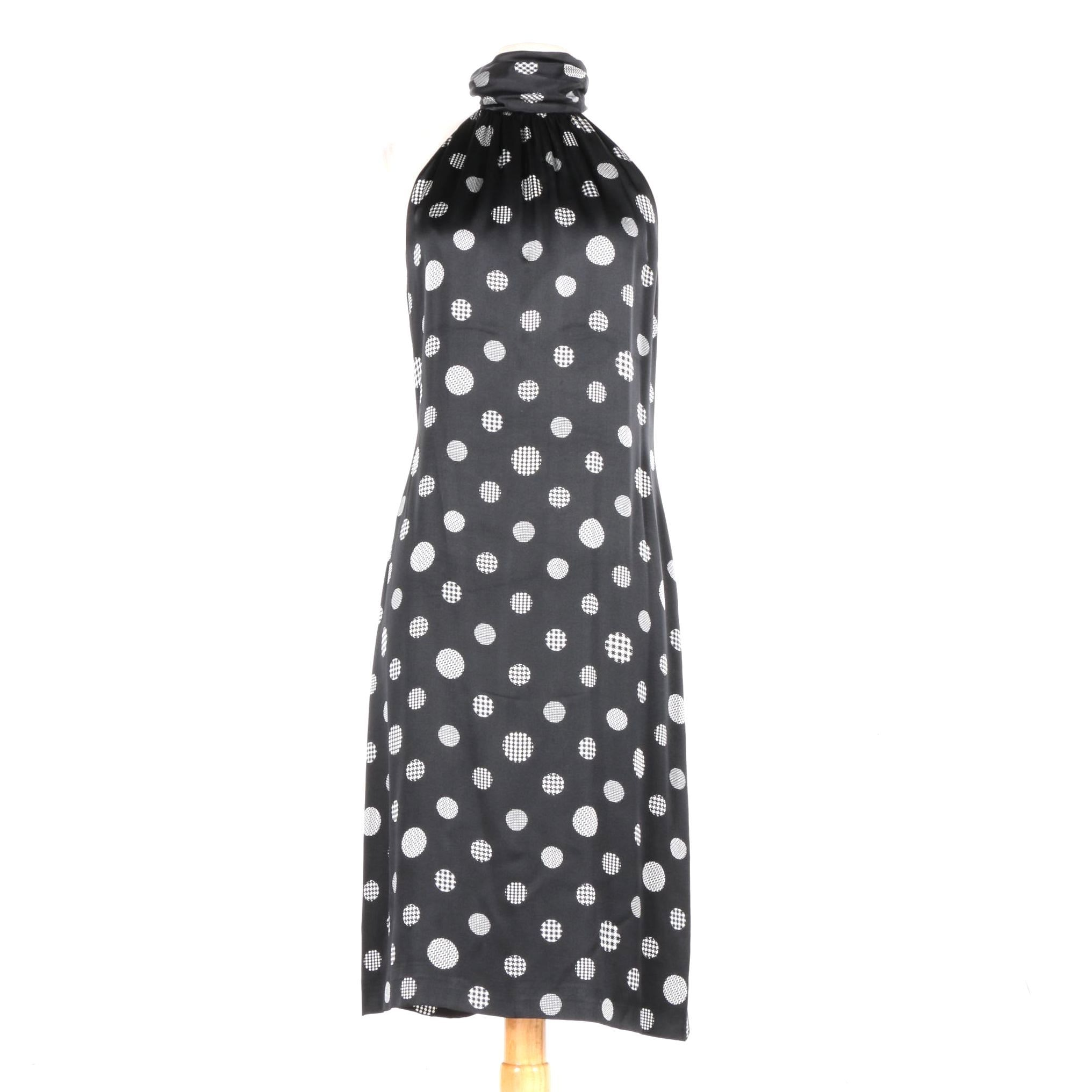 Escada Sleevless Silk Polka-Dot Dress with Ruched Collar
