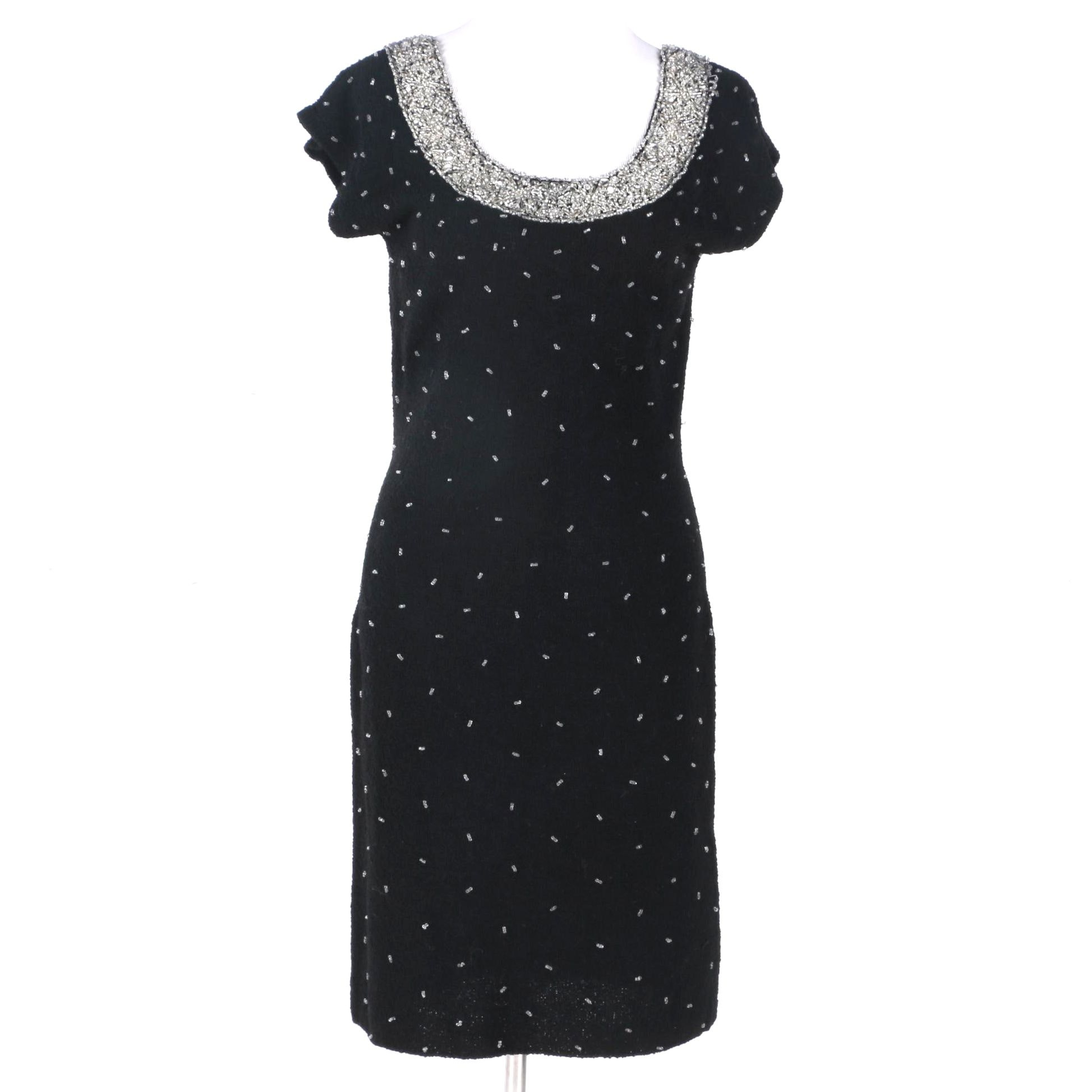 Vintage Beaded Wool Dress
