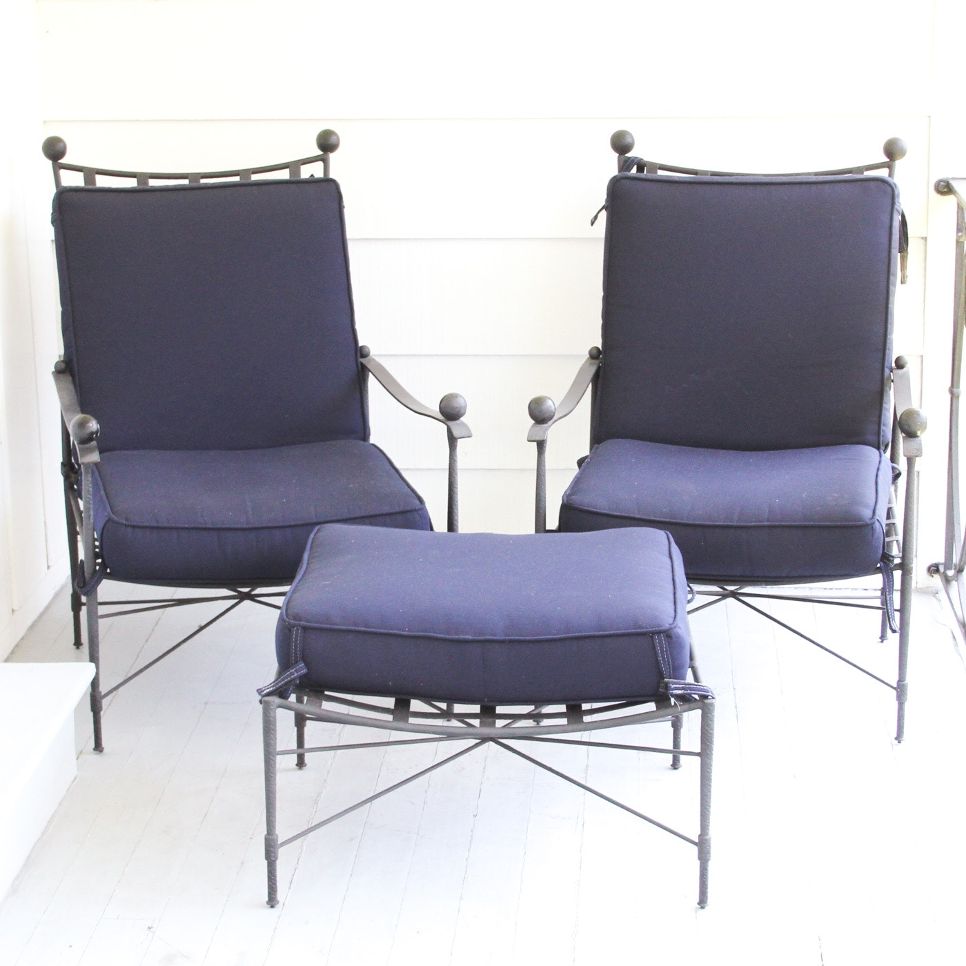 Pair of Outdoor Patio Chairs with Ottoman