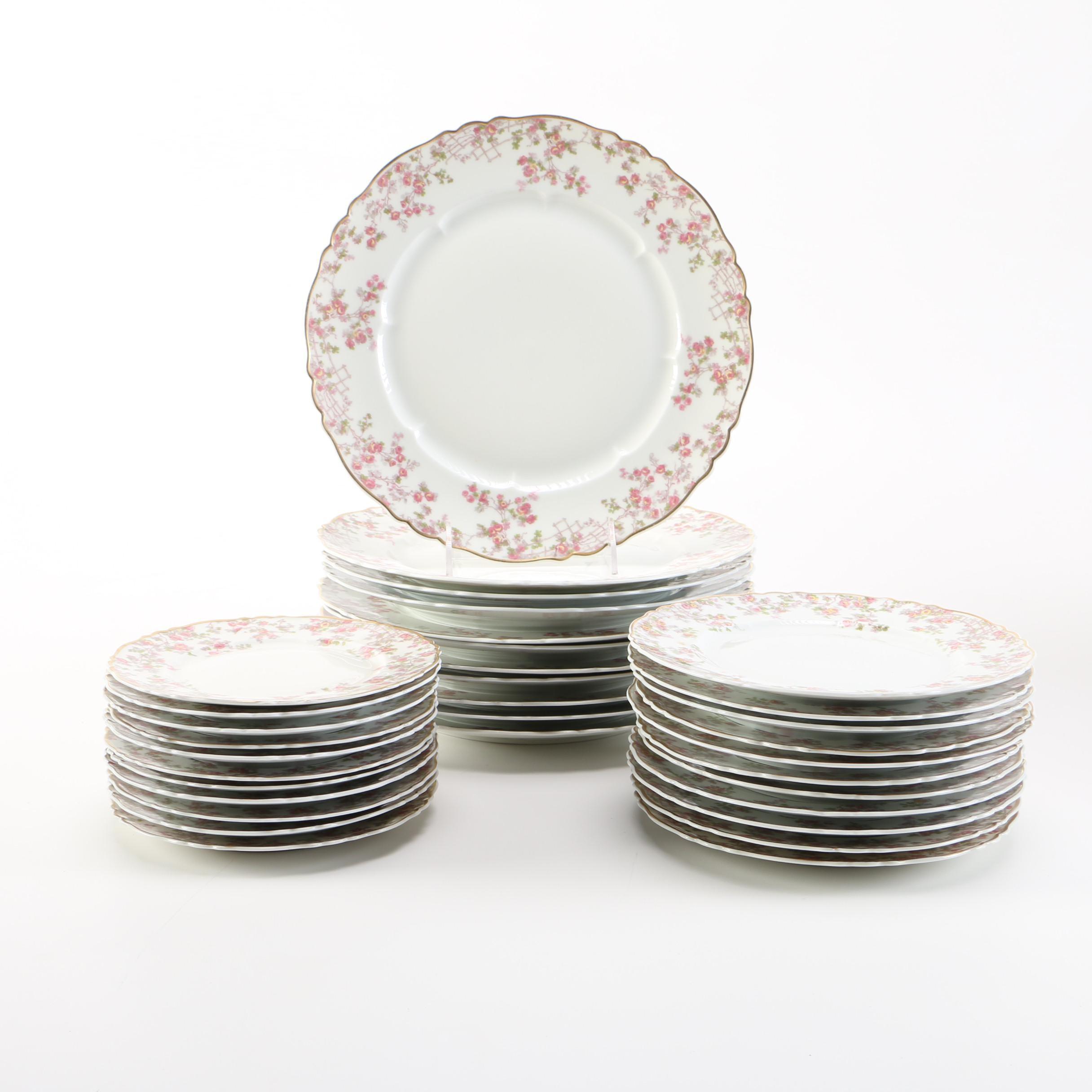 "Haviland Limoges ""Trellis"" Plate Set"