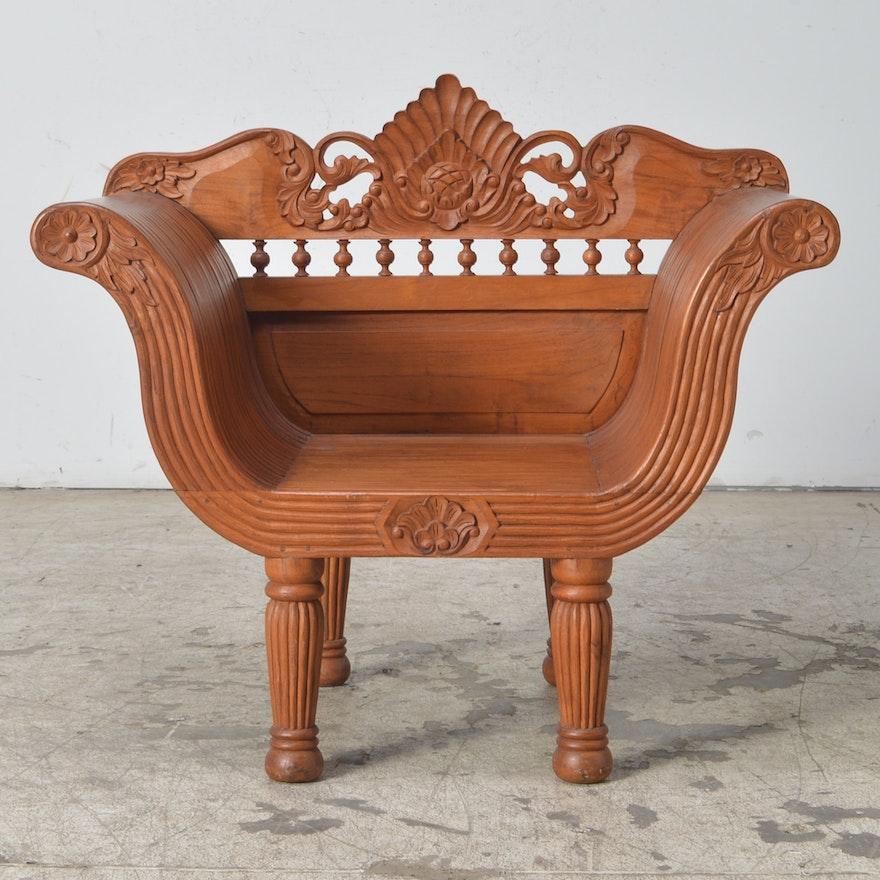 Indonesian Carved Teak Chair Ebth
