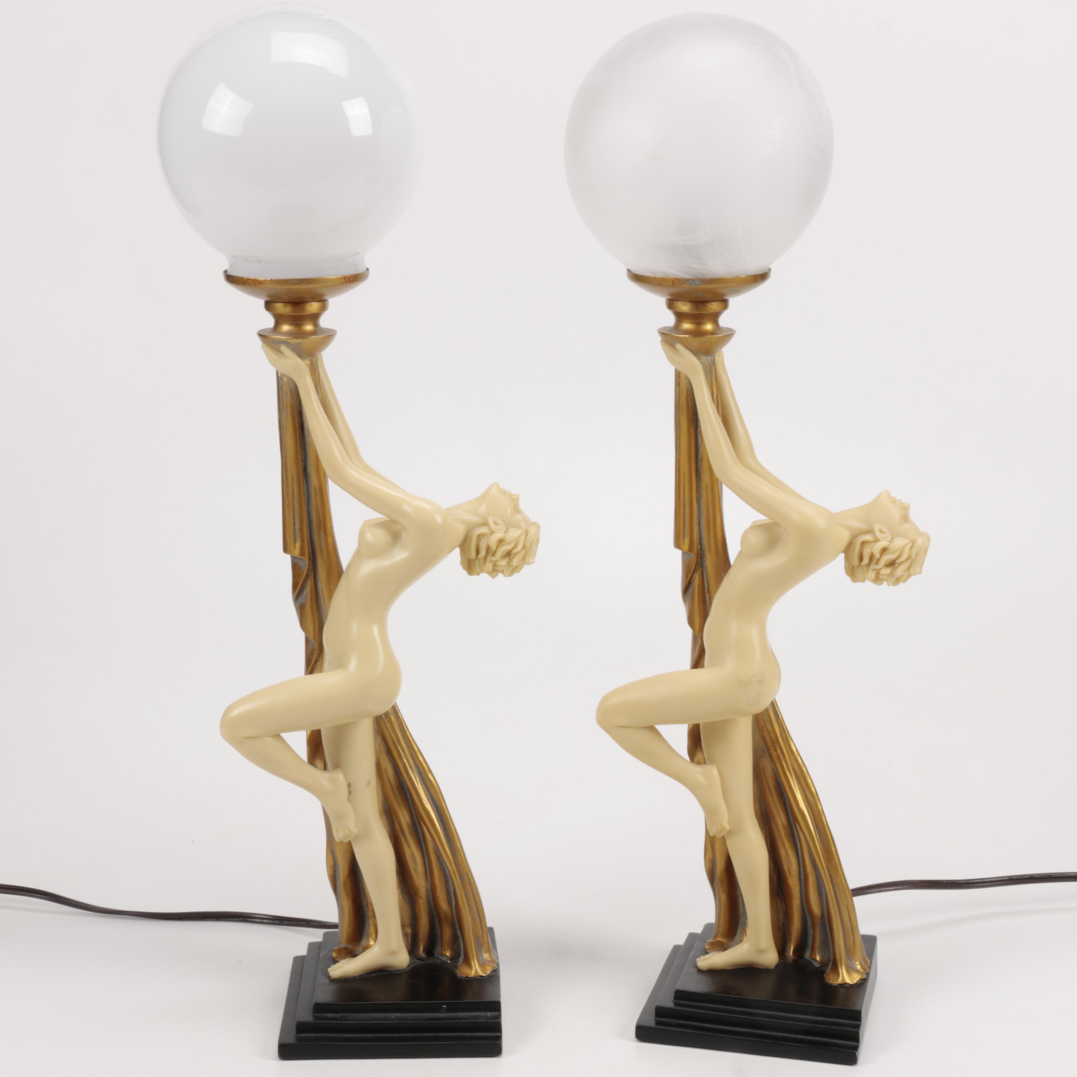 Vintage Art Deco Figural Table Lamps