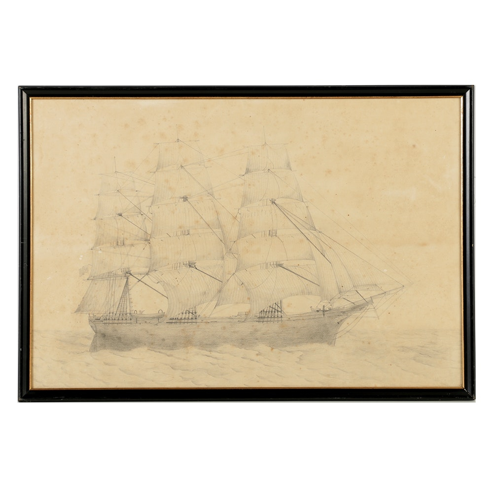 19th-Century Graphite on Paper Drawing of a Three-Mast Ship