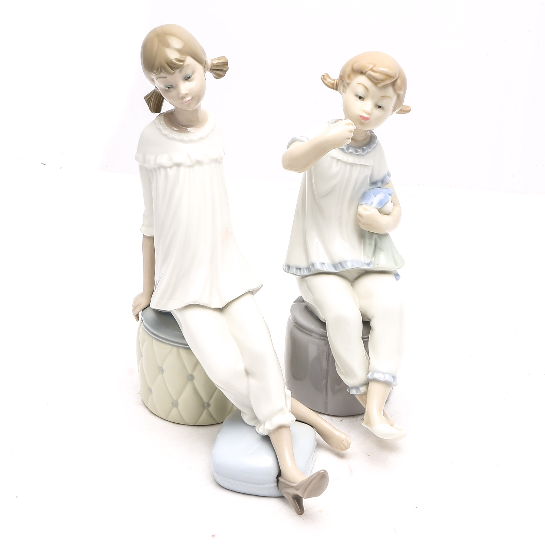 """Lladro 1083 """"Girl with Doll"""" and 1084 """"Girl With Mother's Shoe"""""""