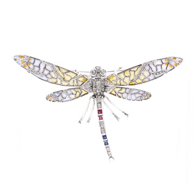 18K White Gold Diamond and Gemstone Dragonfly Pin