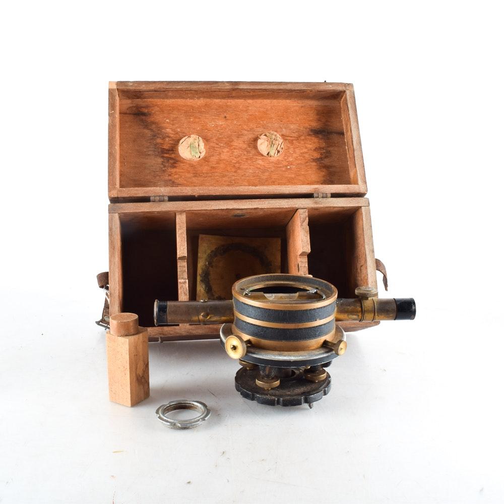 Vintage Surveyor's Transit Level in a Wooden Box