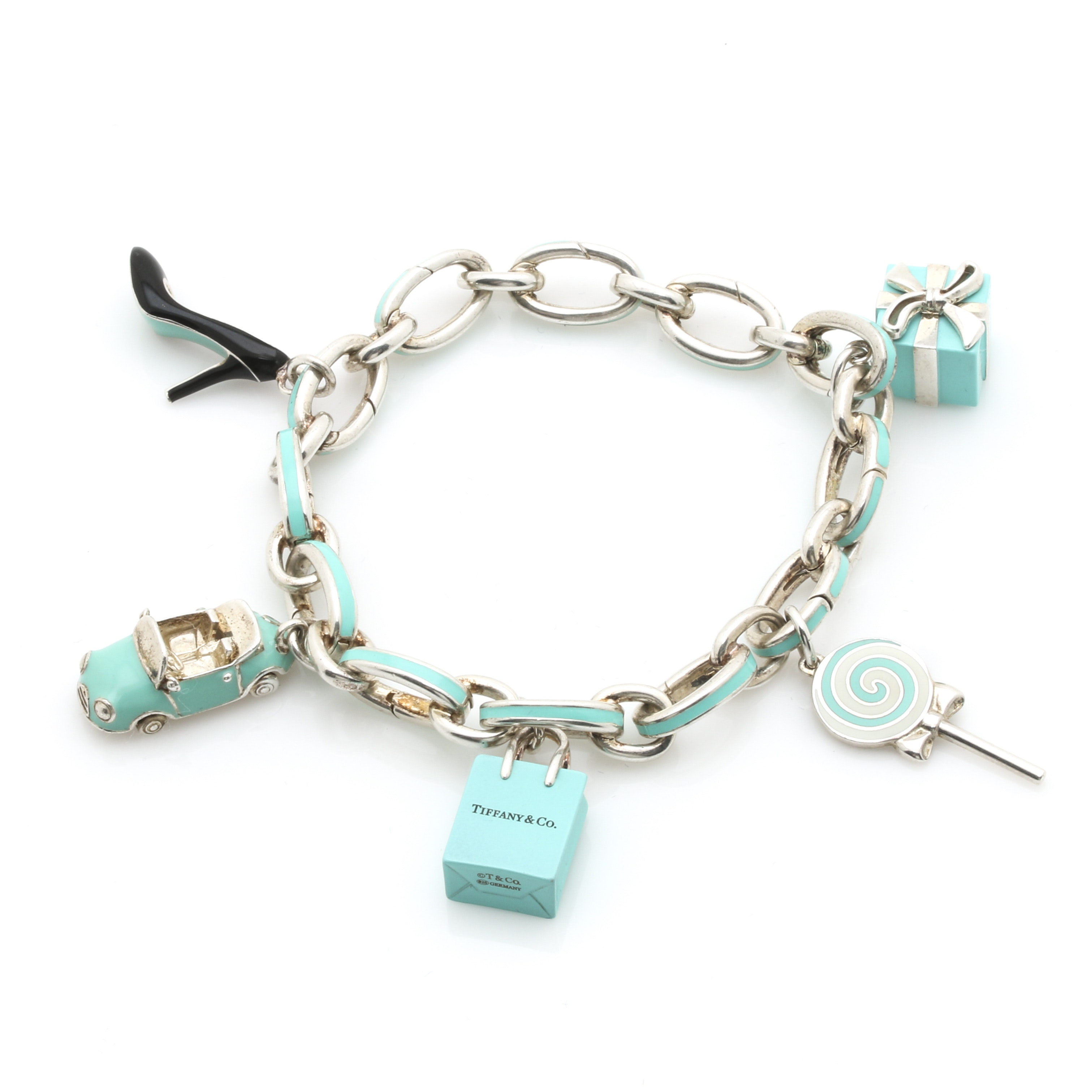 Tiffany & Co. Sterling Silver Charm Bracelet With Various T & Co. Charms