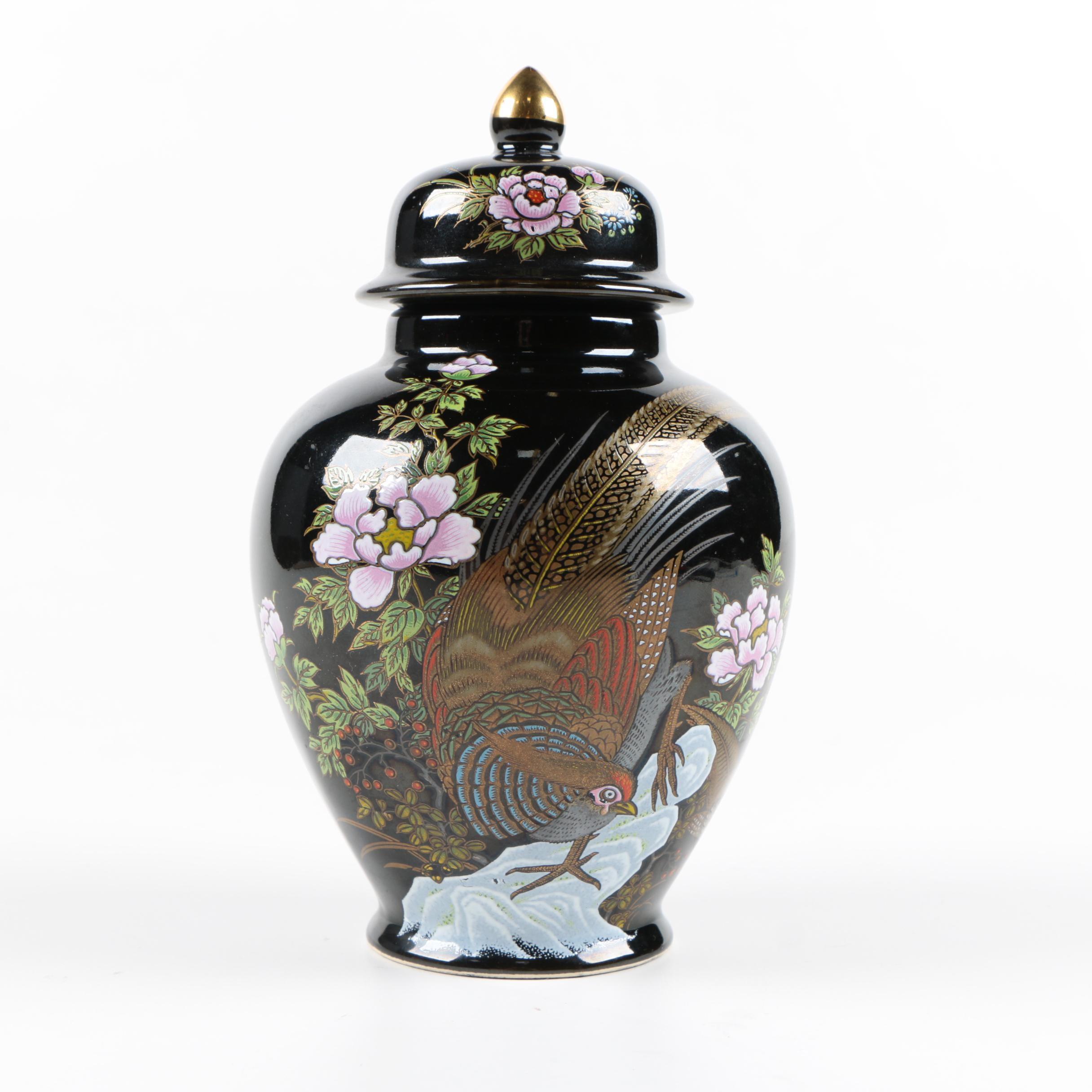 Black Floral Hand Painted Oriental Urn