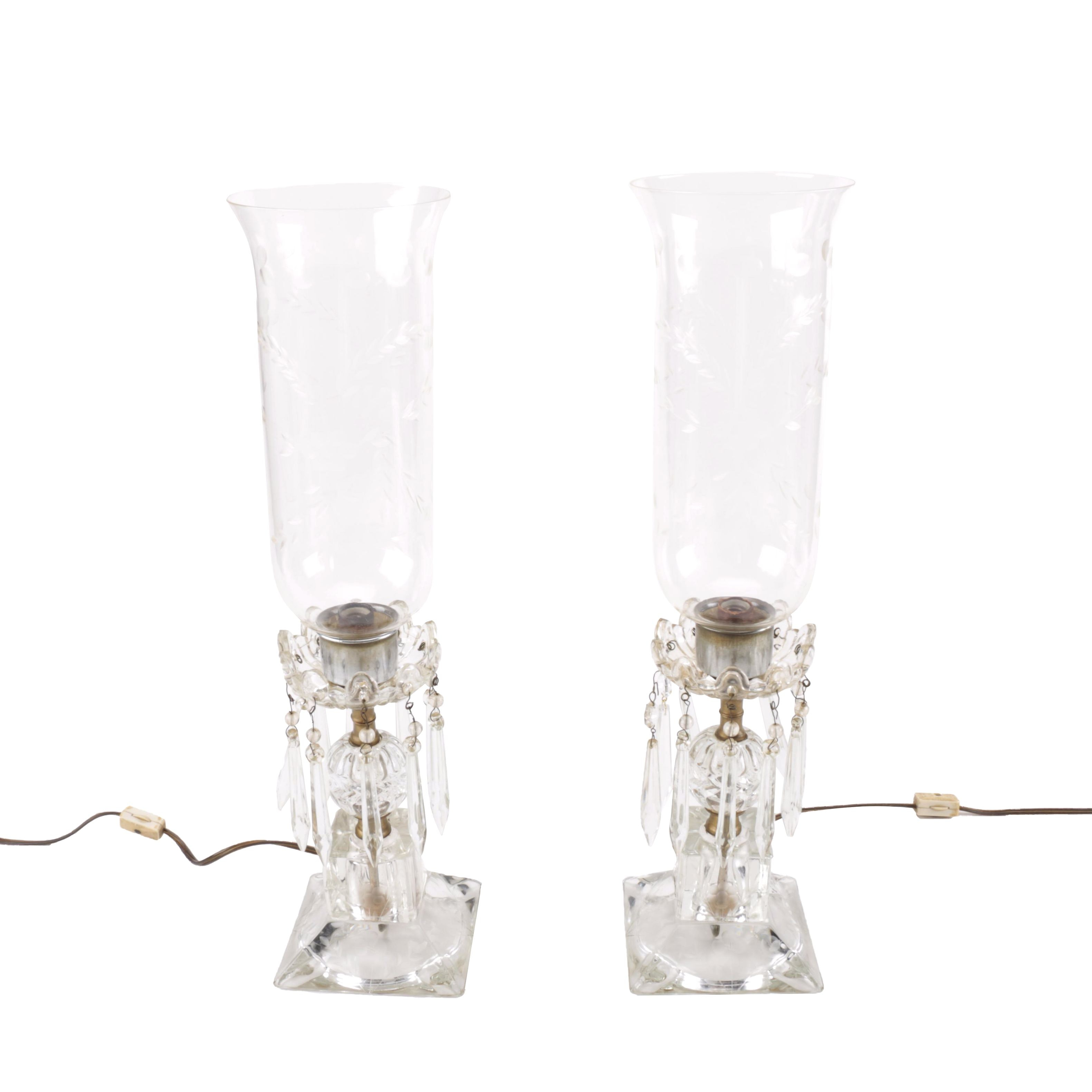 Boudoir CLear Glass and Brass Lamps