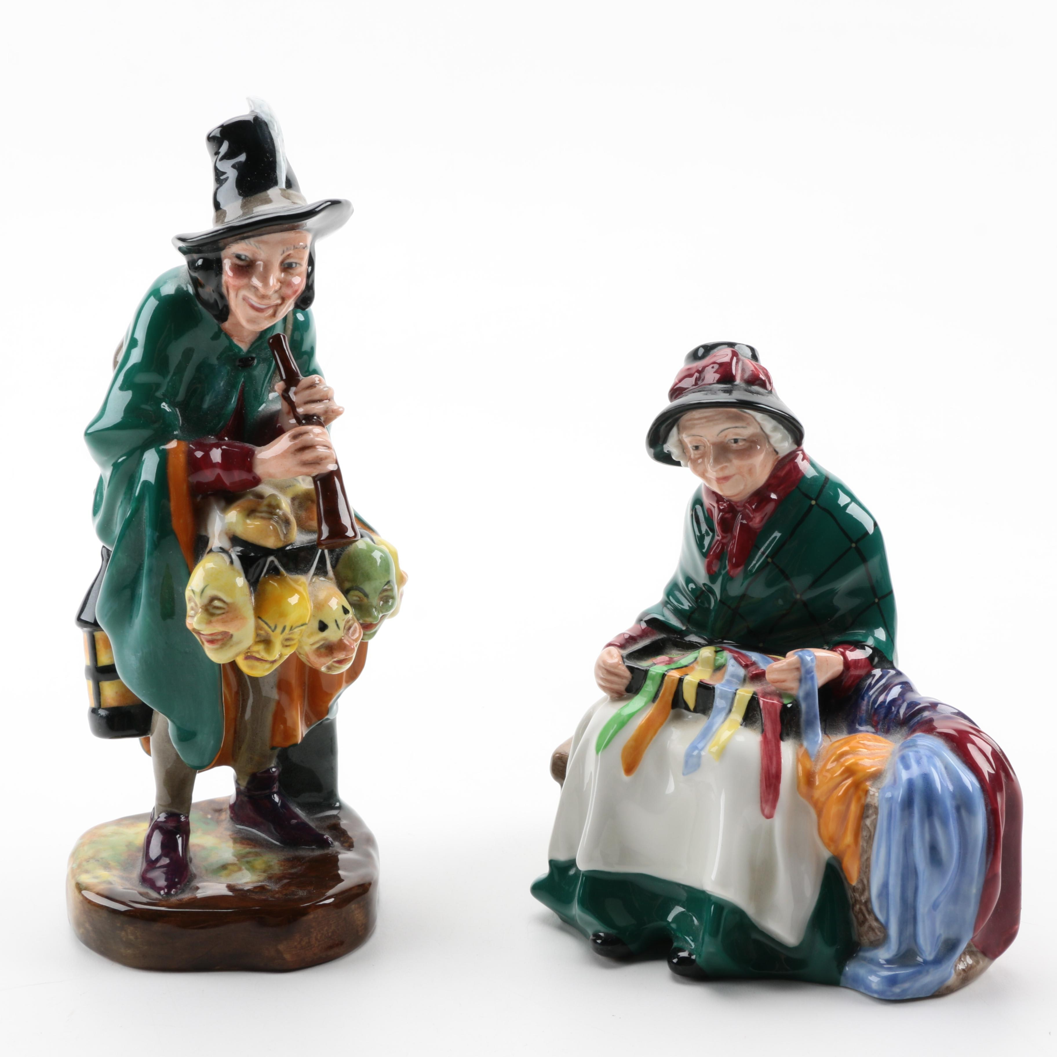 """Royal Doulton Figurines """"The Mask Seller"""" and """"Silk and Ribbons"""""""