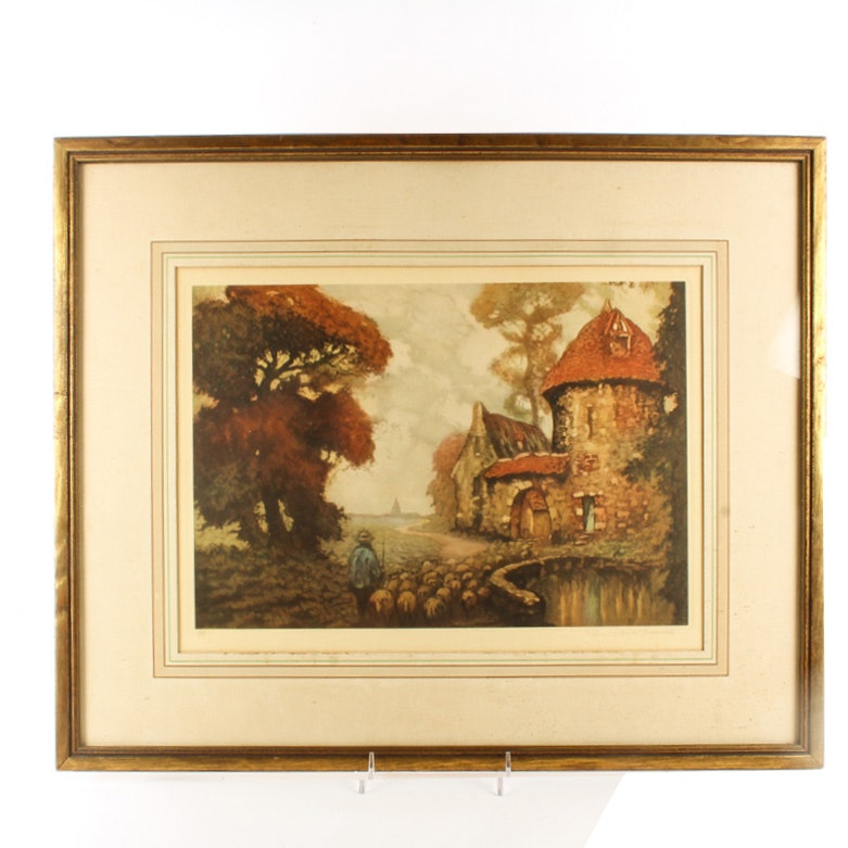 Framed Lithograph After Louis Kourment