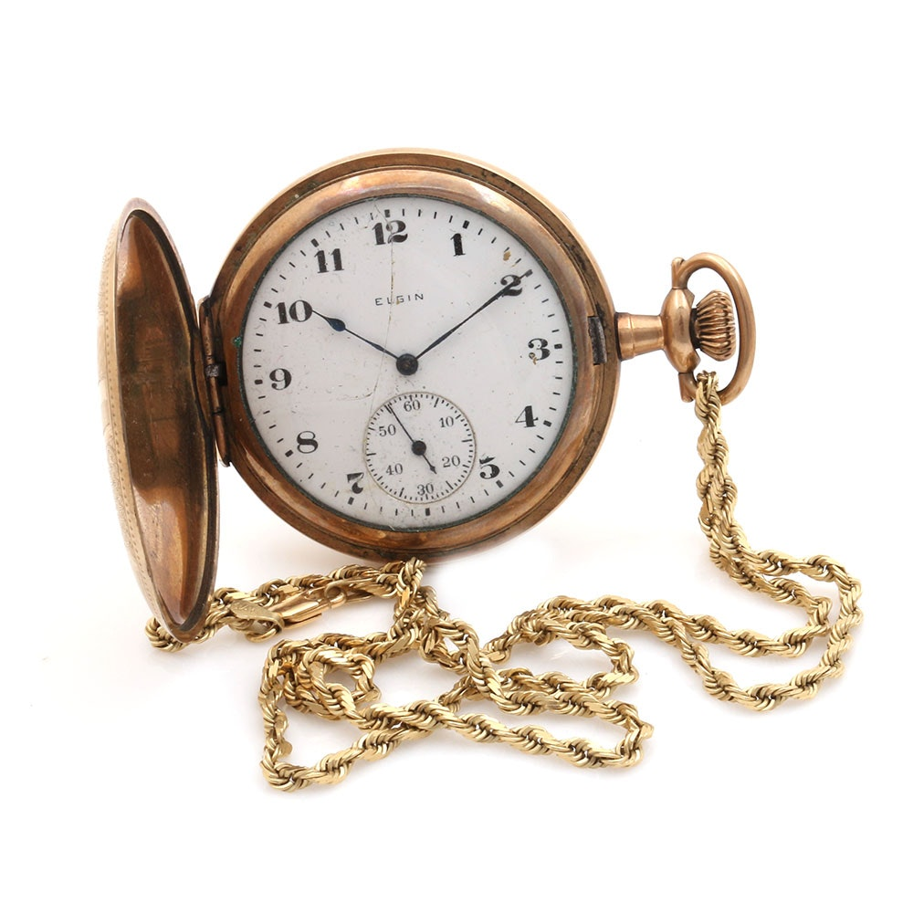 Elgin Gold Filled Pocket Watch With 14K Yellow Gold Fob