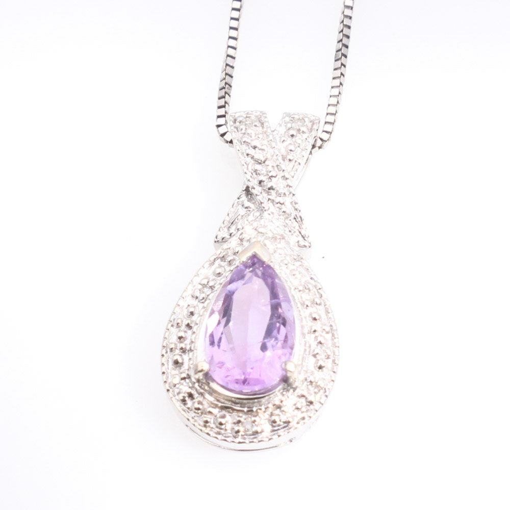 10K Yellow Gold Amethyst and Diamond Pendant on 14K Necklace
