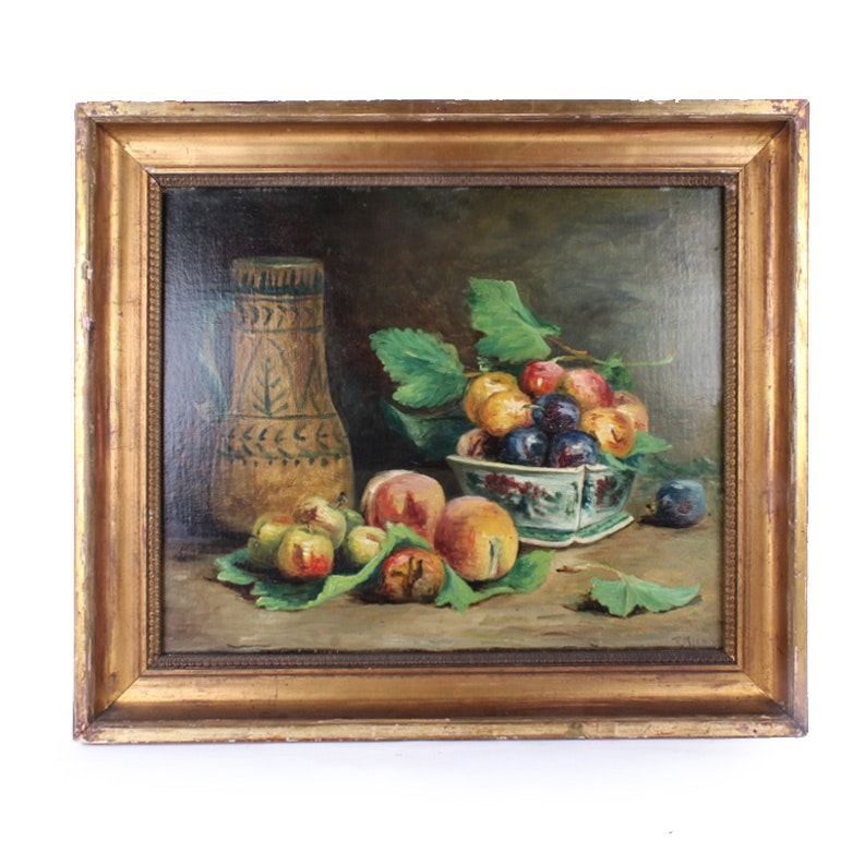 Antique R. Meeks Oil on Canvas Board Painting of a Fruit Still Life
