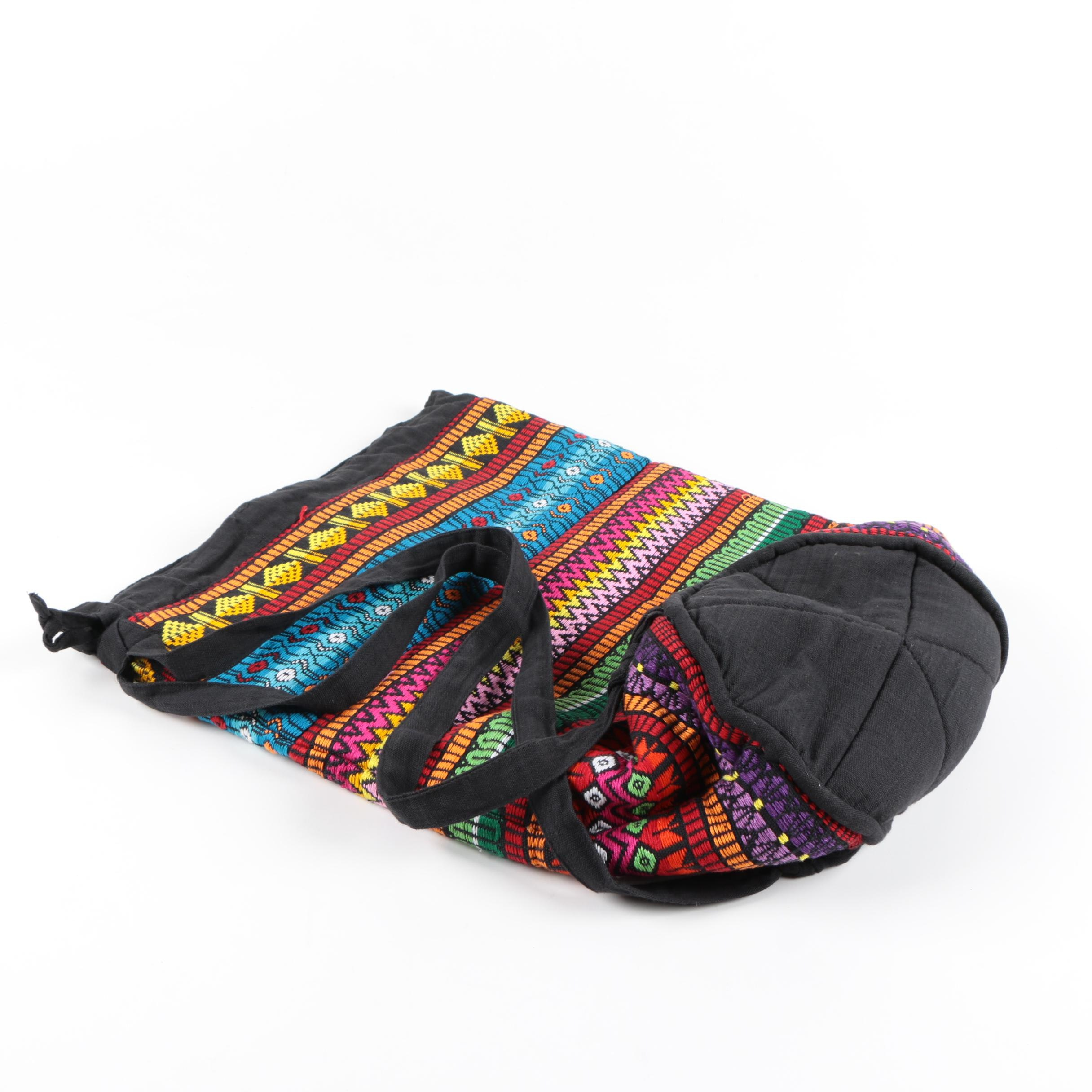 Black Canvas Bag With Colorful Woven Patterns