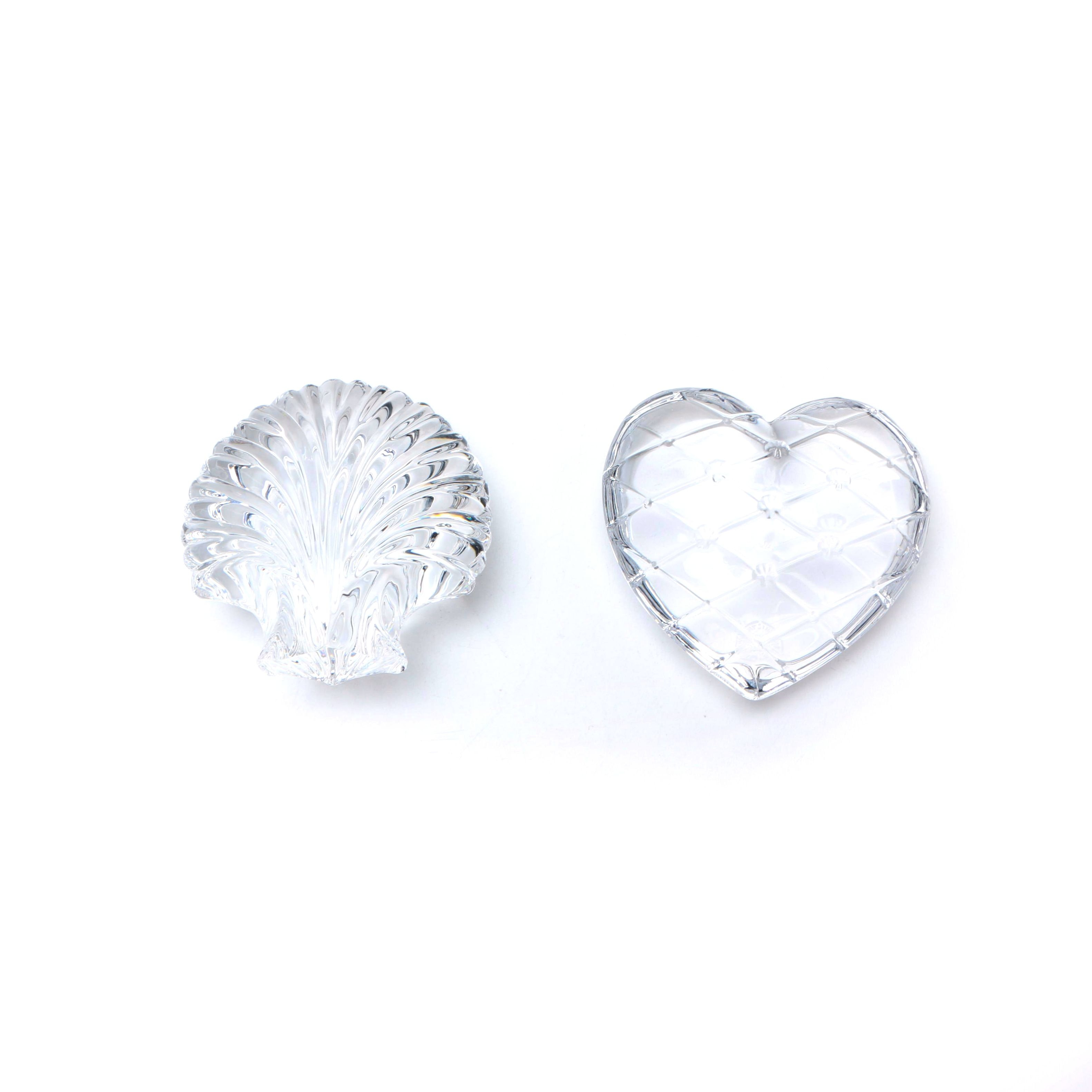 Crystal St. Louis France Shell and Heart Paperweights