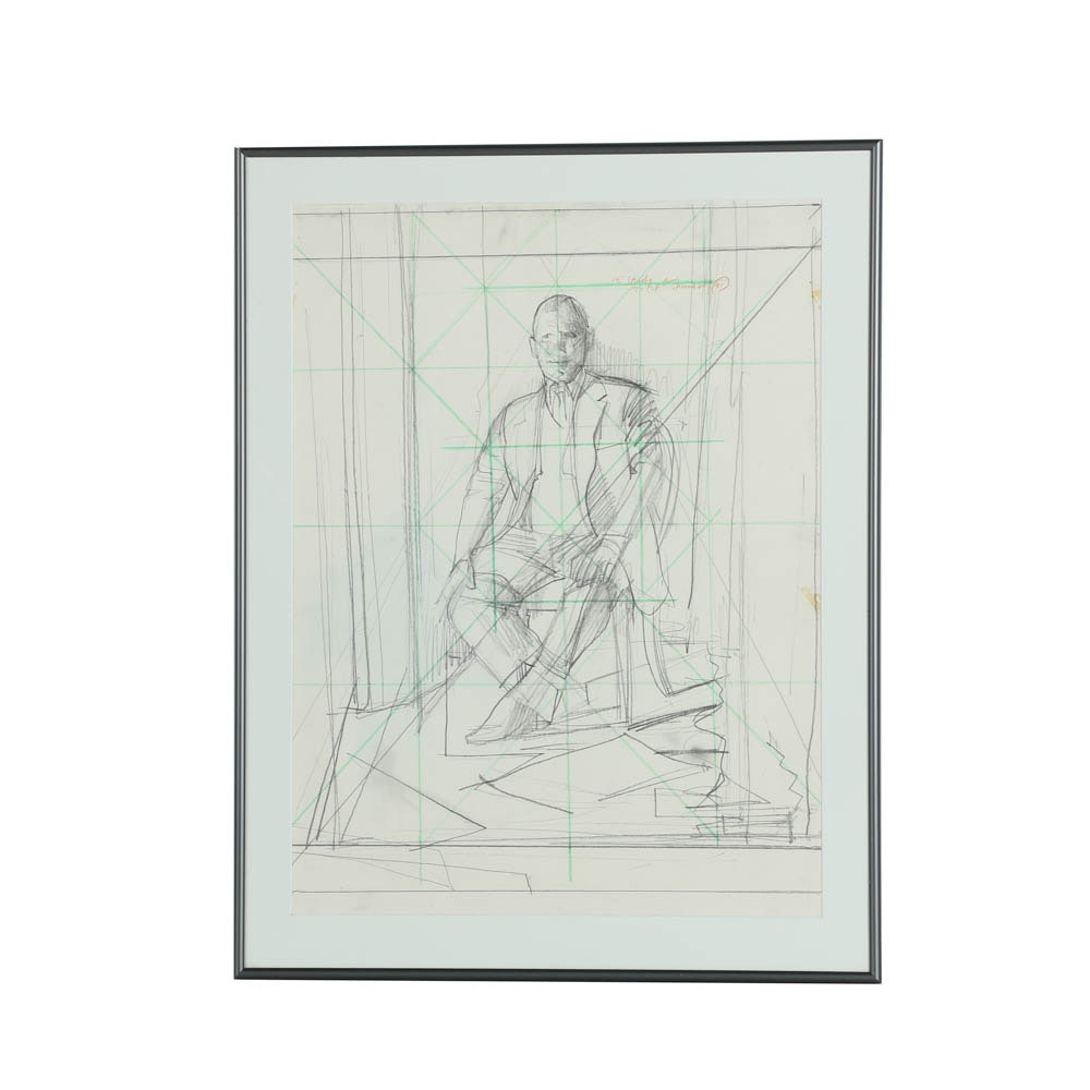 "Jerome Wilkin Graphite Drawing on Paper ""Study"""