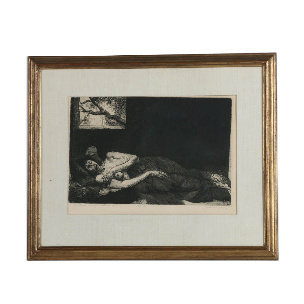 """David Bumbuck Signed Artist's Proof Etching on Paper """"The Dream..."""""""