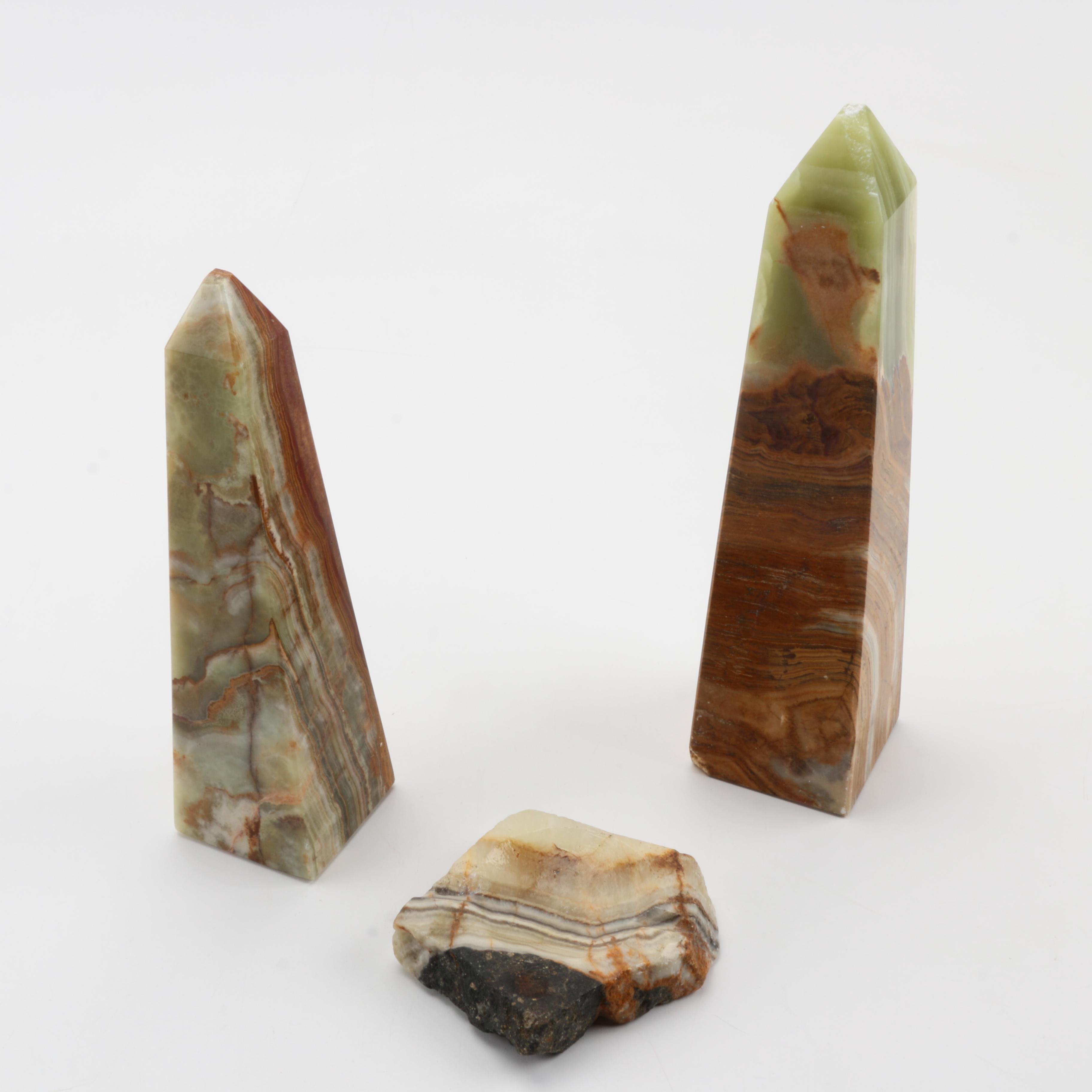 Agate Obelisks and Ash Tray