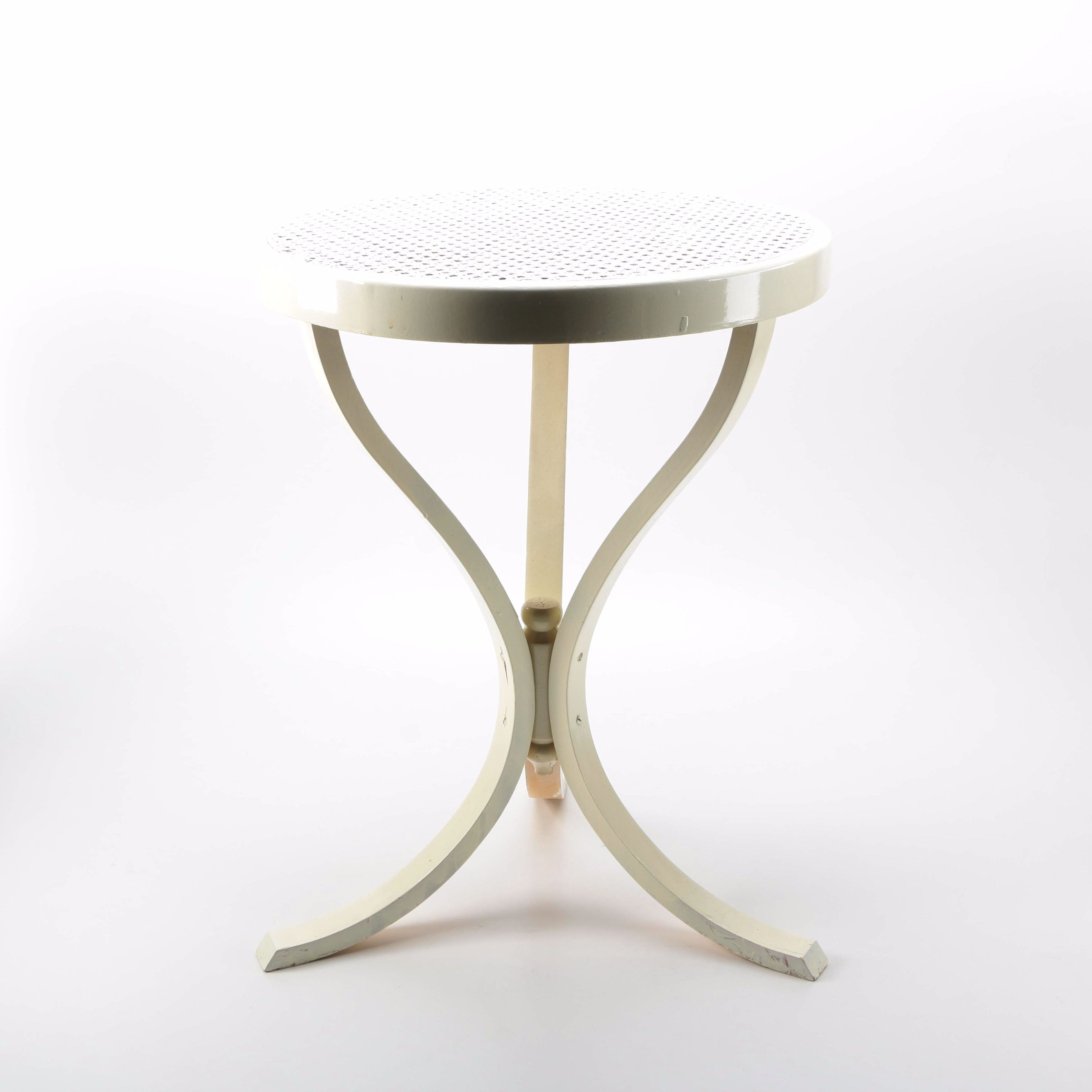 Painted Wooden Accent Table With Cane Top