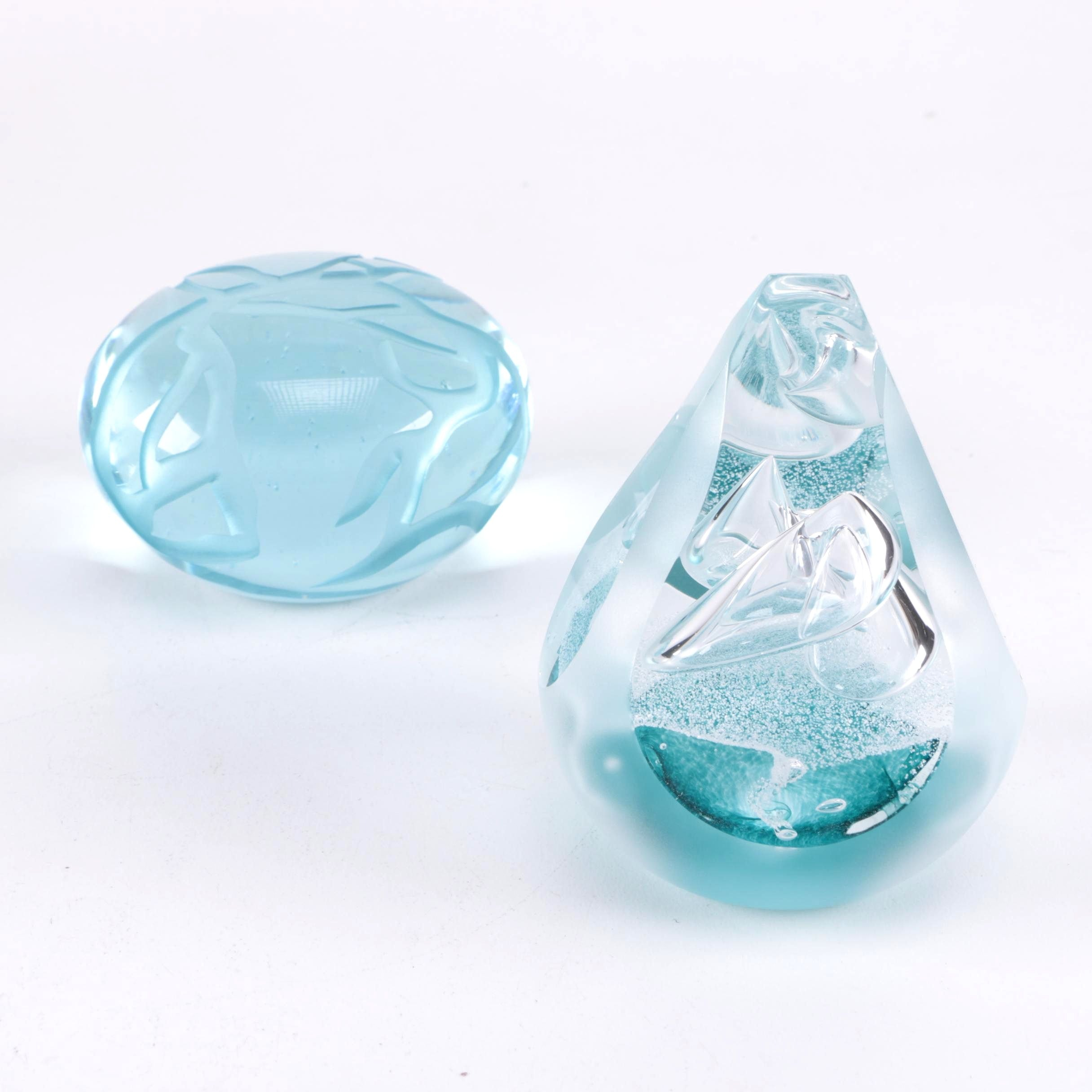 Pair of Frosted Blue Paperweights