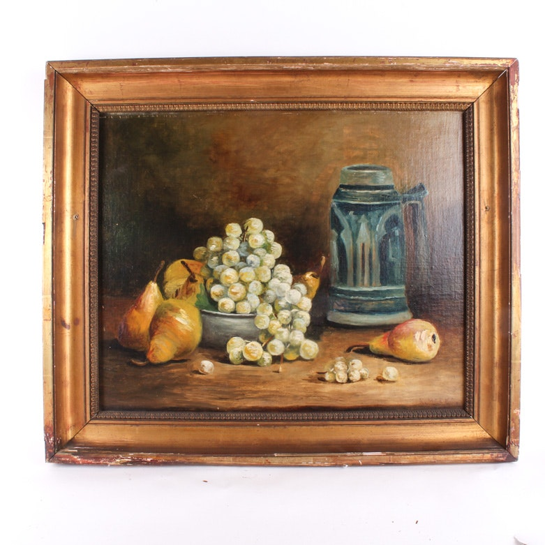 Antique R. Meeks Oil on Canvas Board Painting of a Still Life with Food