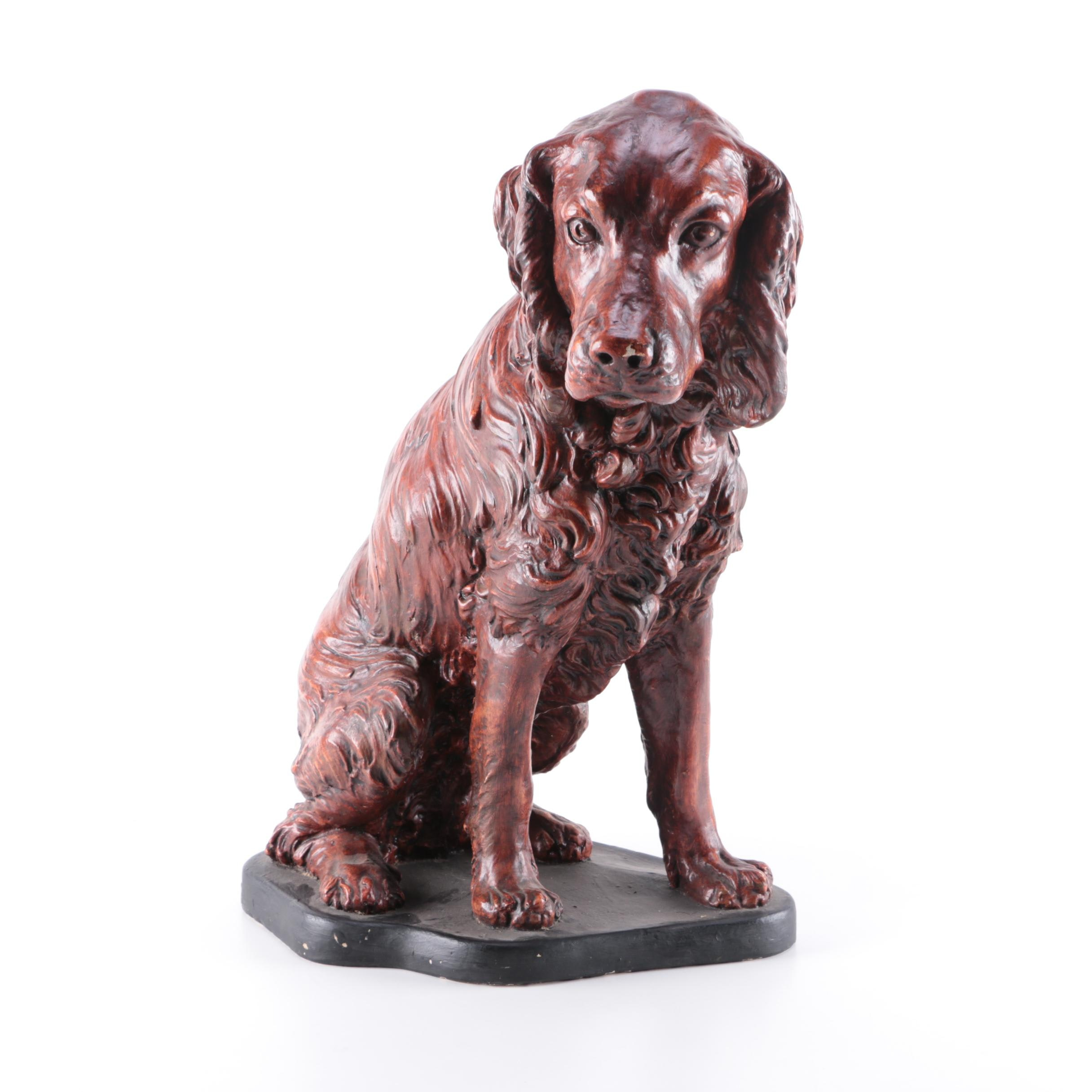 Plaster Sculpture of a Sitting Spaniel