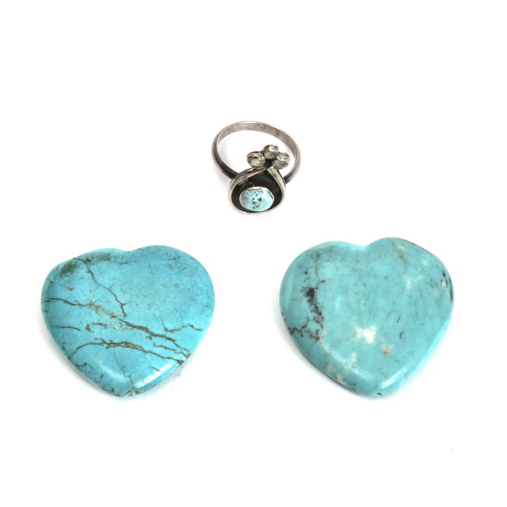 Sterling Silver Ring and a Pair of Turquoise Stone Heart Beads