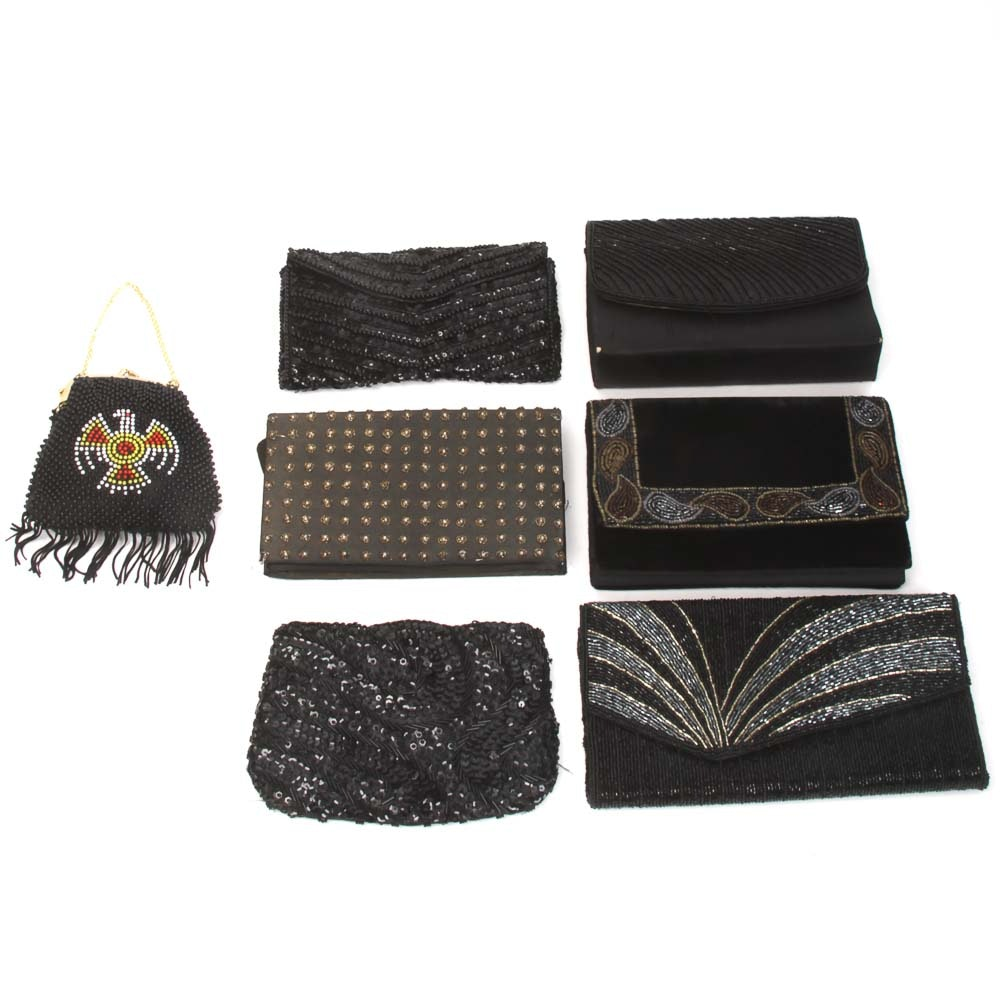 Variety of Vintage Black Beaded Evening Bags