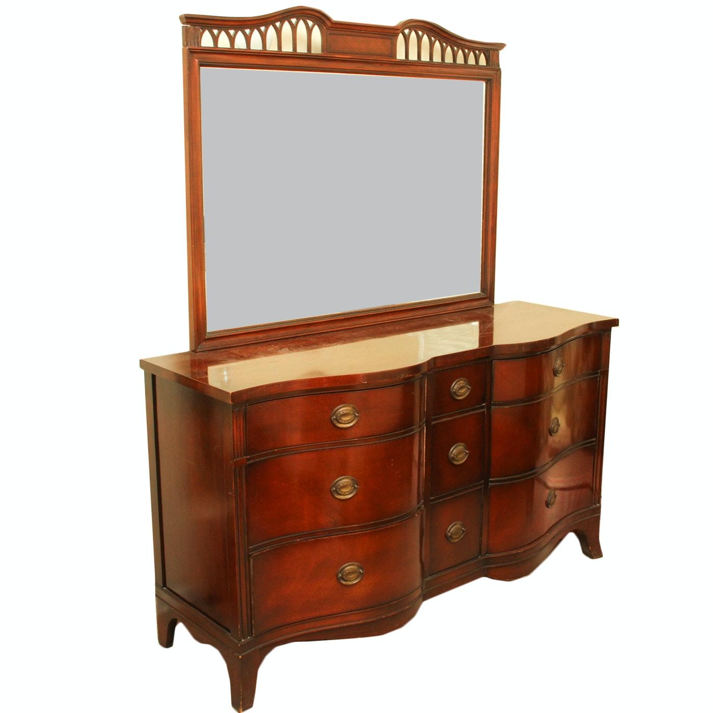 """Vintage  1940s Drexel """"Travis Court"""" Mahogany Serpentine Dresser with Mirror"""