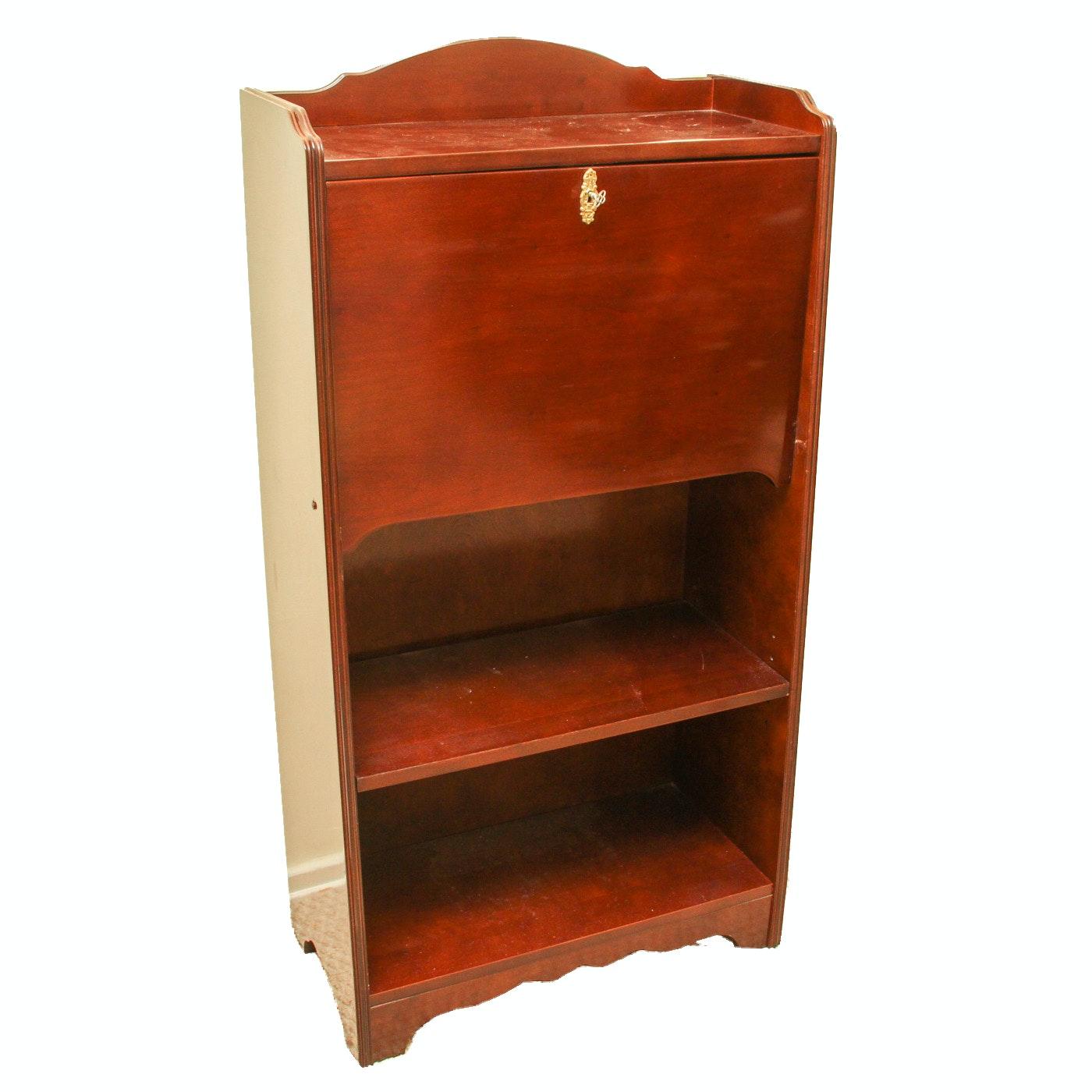 Vintage Wood Secretary Desk and Bookcase