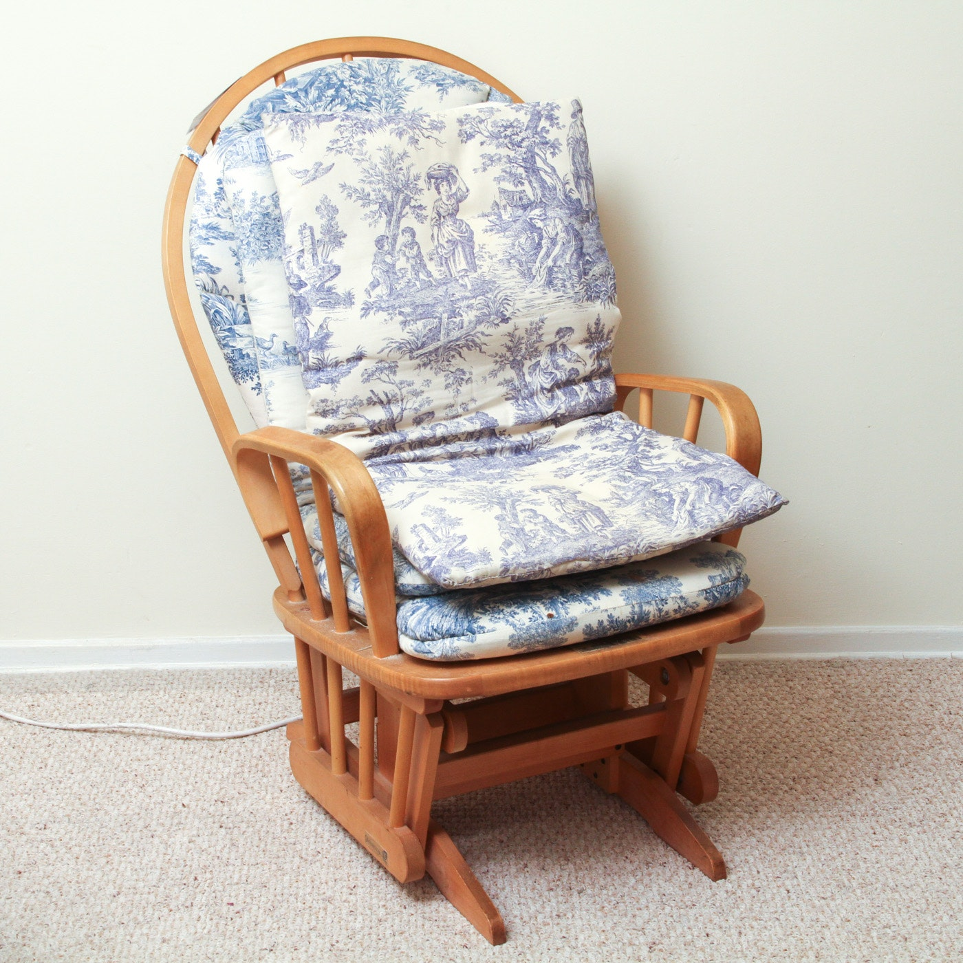 Dutaller Glider Rocking Chair with Toile Cushions