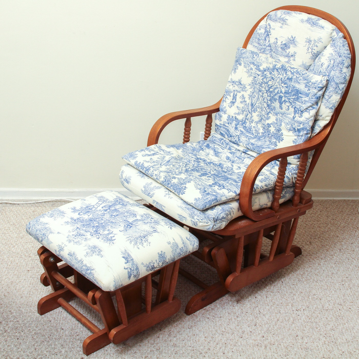 Wooden Glider Rocking Chair With Glider Ottoman and Toile Cushions