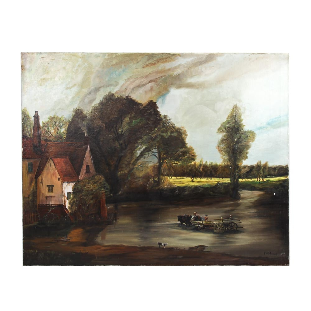 FVD Bosch Oil Painting of a Country Home