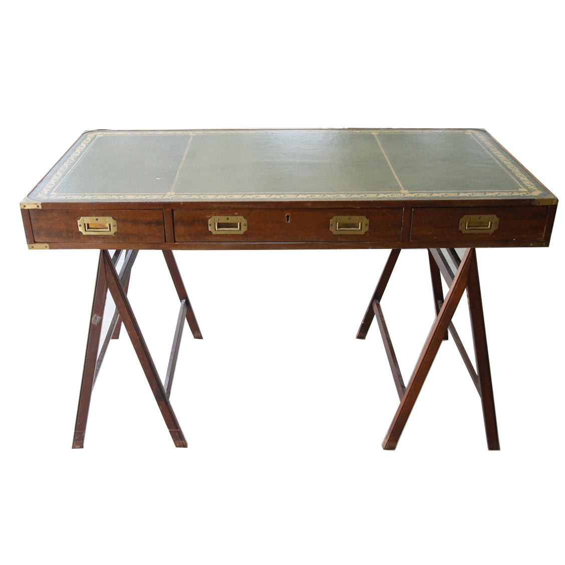 Early 20th Century Leather Top Wooden Desk