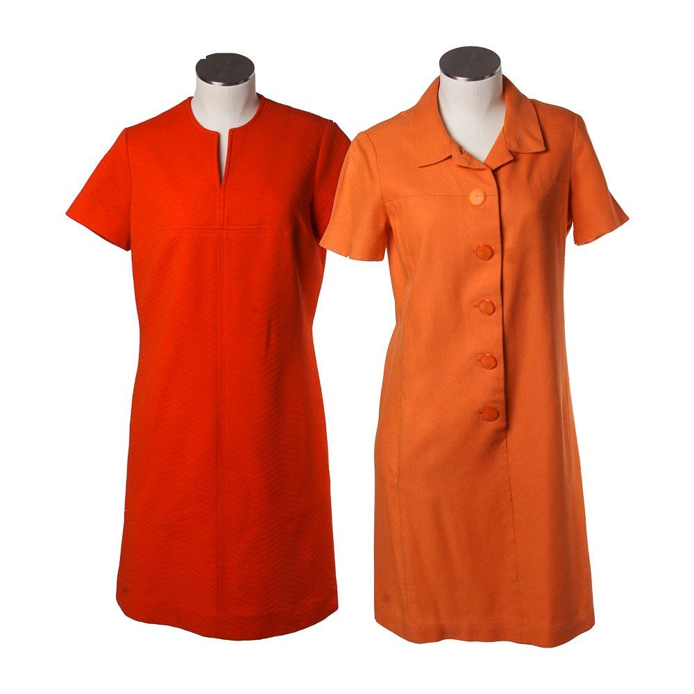 Vintage Women's Orange Dresses