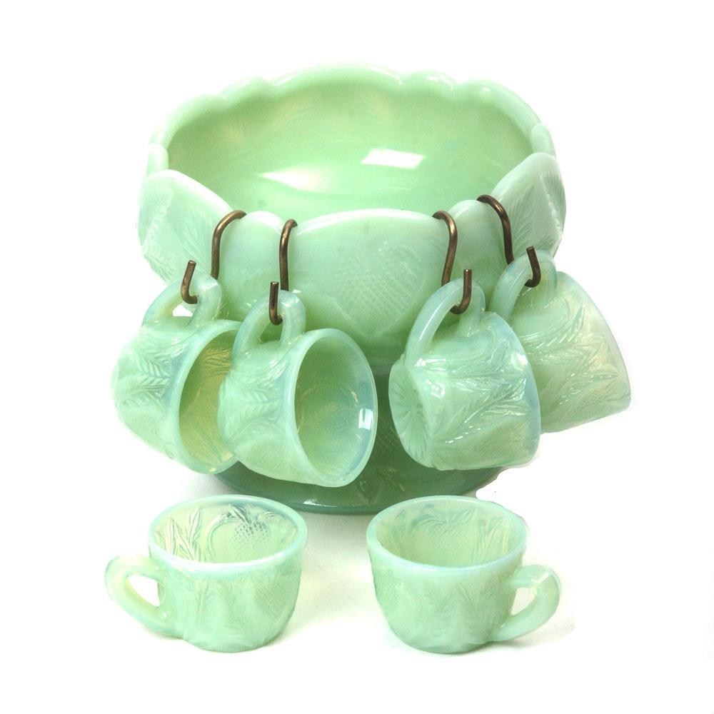 Miniature Vintage Jadeite Glass Punch Bowl Set