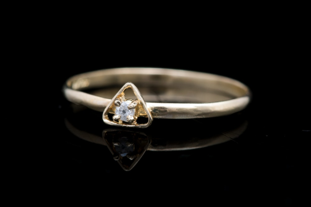 14K Yellow Gold and Diamond in Triangle  Ring